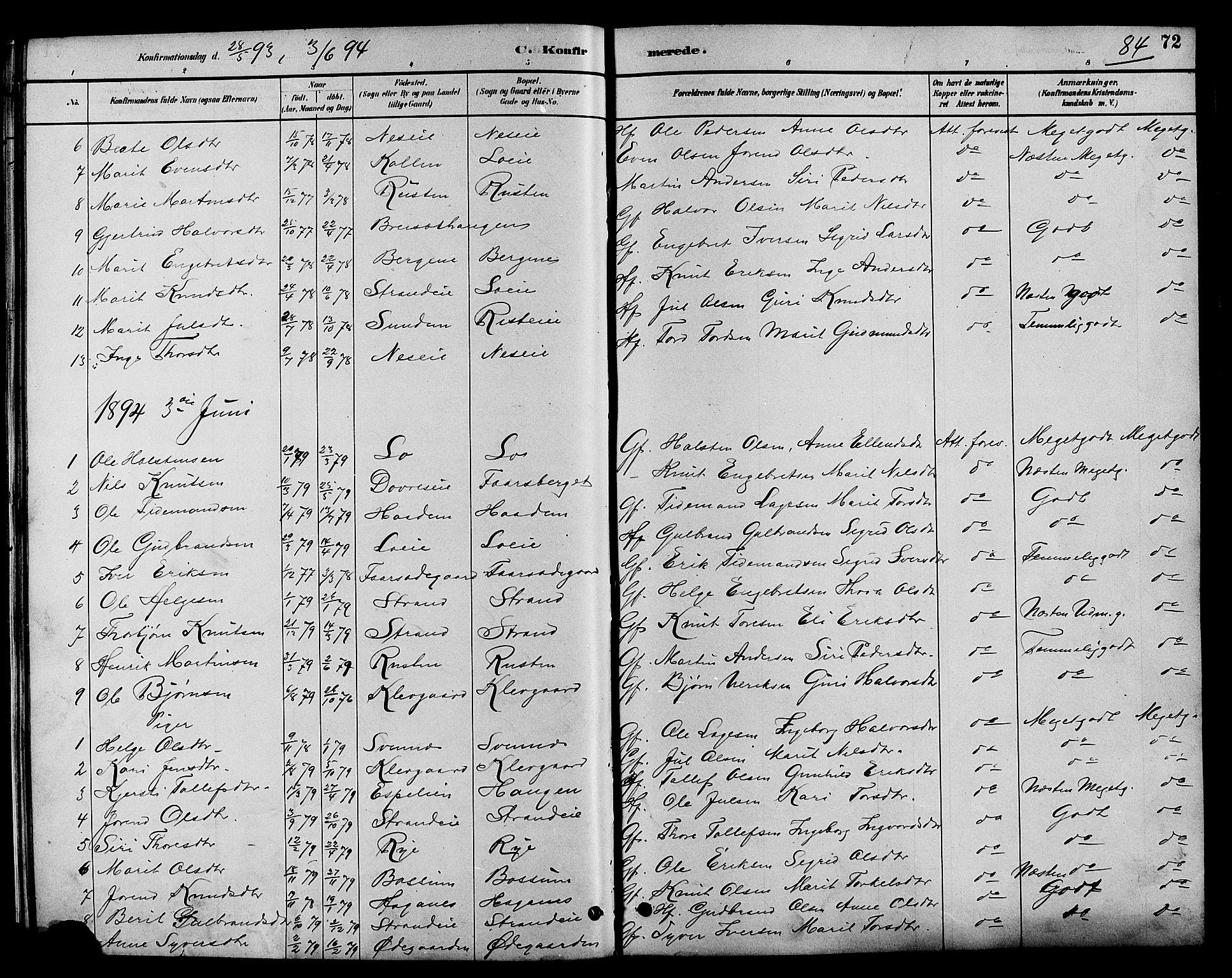 SAH, Nord-Aurdal prestekontor, Klokkerbok nr. 7, 1883-1910, s. 84