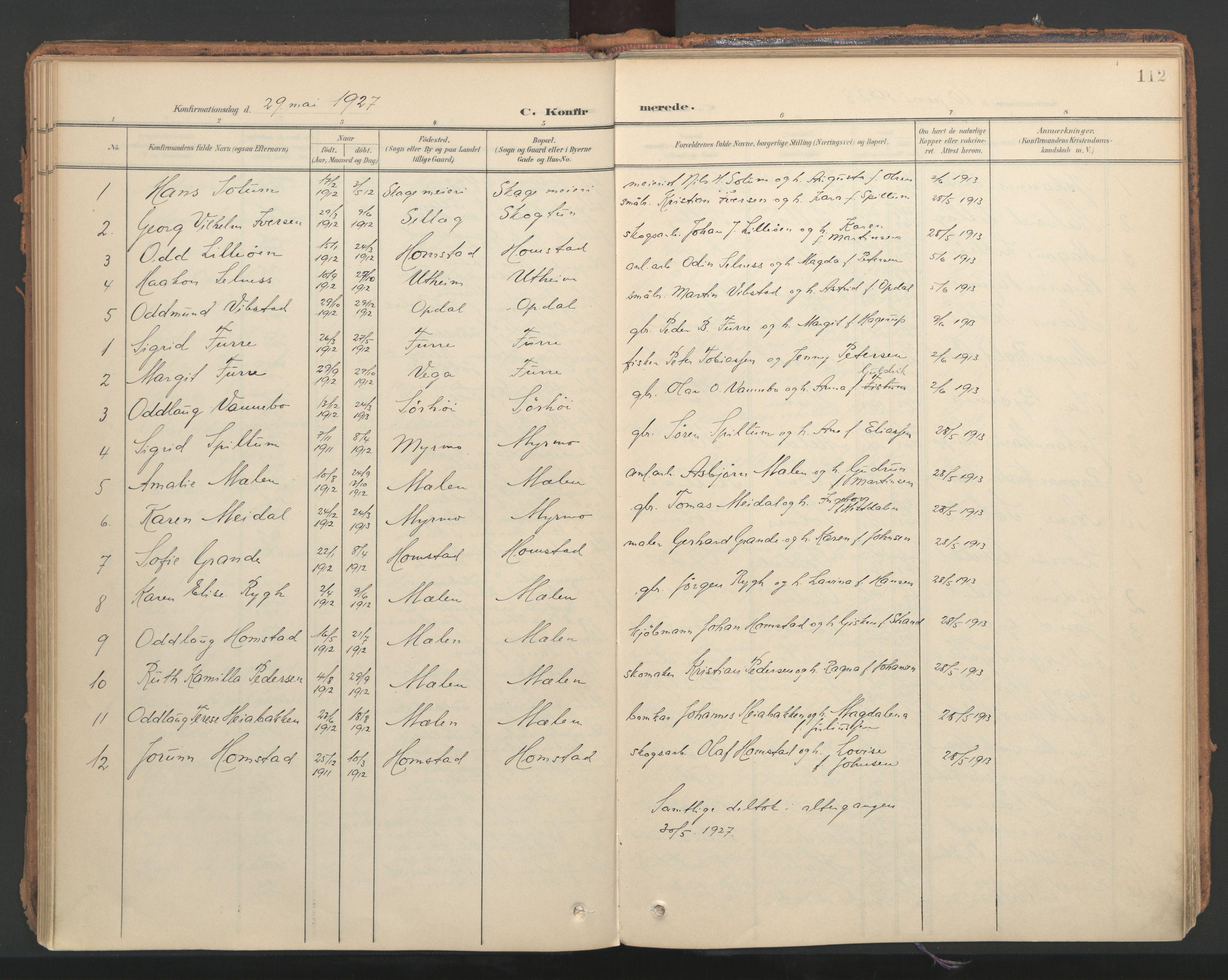 SAT, Ministerialprotokoller, klokkerbøker og fødselsregistre - Nord-Trøndelag, 766/L0564: Ministerialbok nr. 767A02, 1900-1932, s. 112