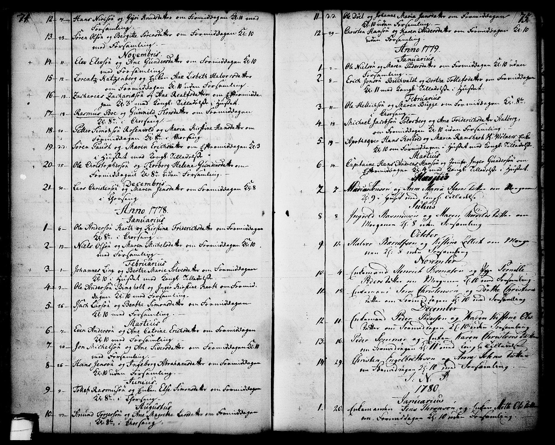 SAKO, Skien kirkebøker, F/Fa/L0003: Ministerialbok nr. 3, 1755-1791, s. 74-75