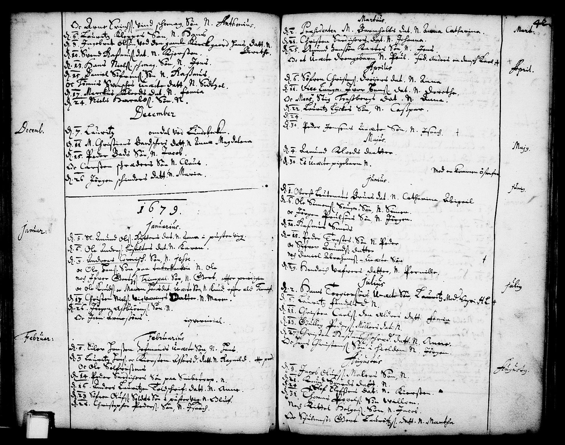 SAKO, Skien kirkebøker, F/Fa/L0001: Ministerialbok nr. 1, 1659-1679, s. 42