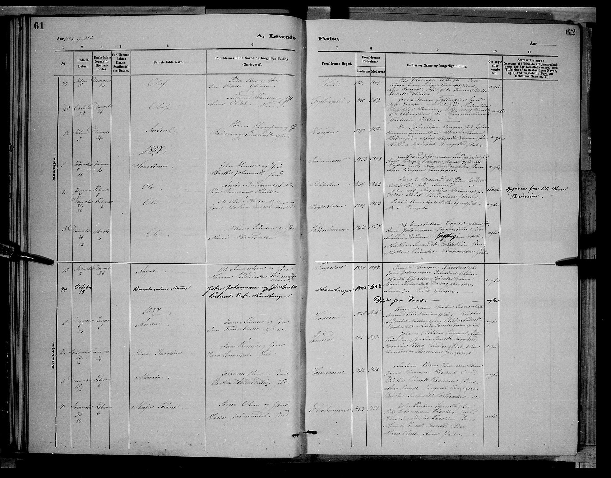 SAH, Sør-Fron prestekontor, H/Ha/Hab/L0003: Klokkerbok nr. 3, 1884-1896, s. 61-62