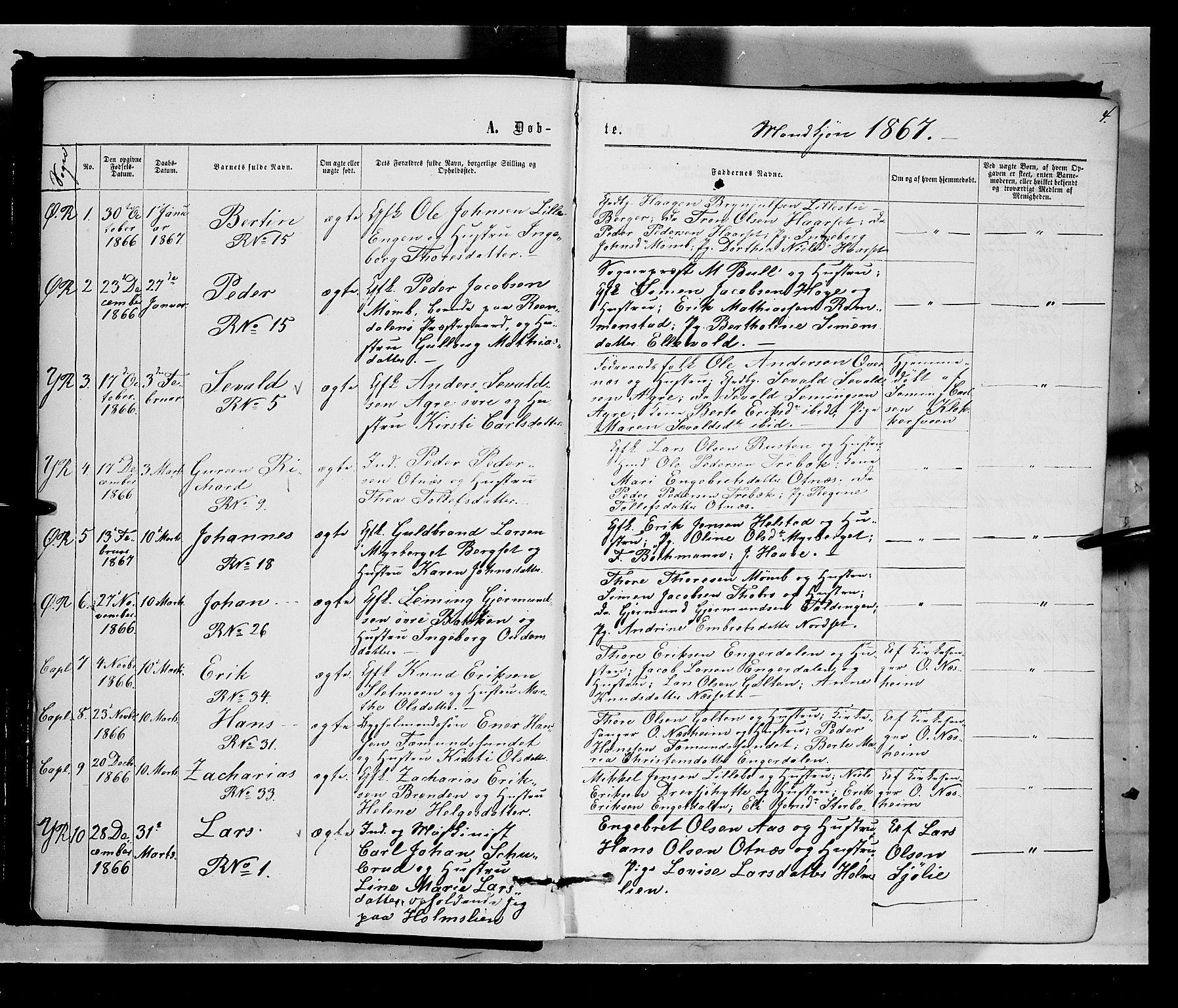 SAH, Rendalen prestekontor, H/Ha/Haa/L0006: Ministerialbok nr. 6, 1867-1877, s. 4