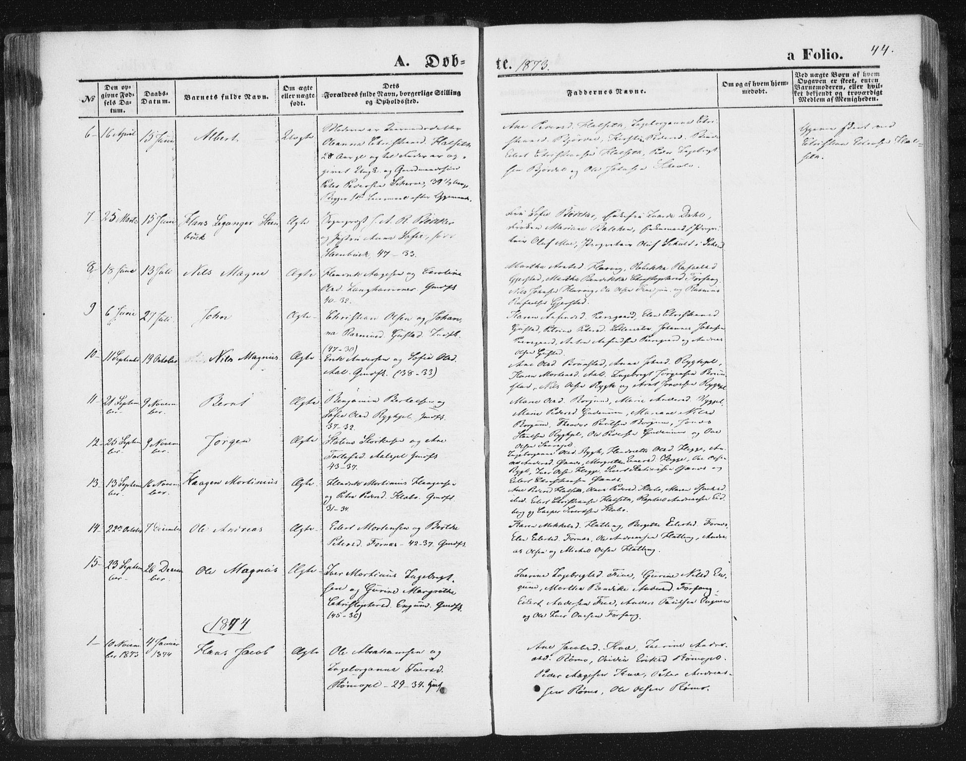 SAT, Ministerialprotokoller, klokkerbøker og fødselsregistre - Nord-Trøndelag, 746/L0447: Ministerialbok nr. 746A06, 1860-1877, s. 44