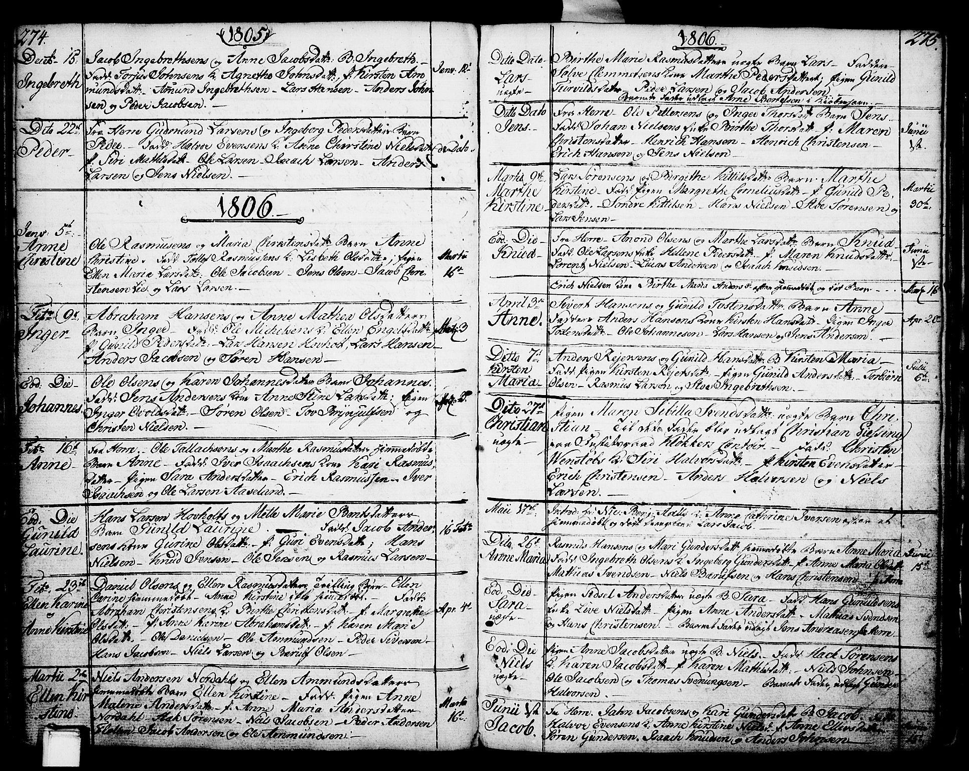 SAKO, Porsgrunn kirkebøker , F/Fa/L0002: Ministerialbok nr. 2, 1764-1814, s. 274-275