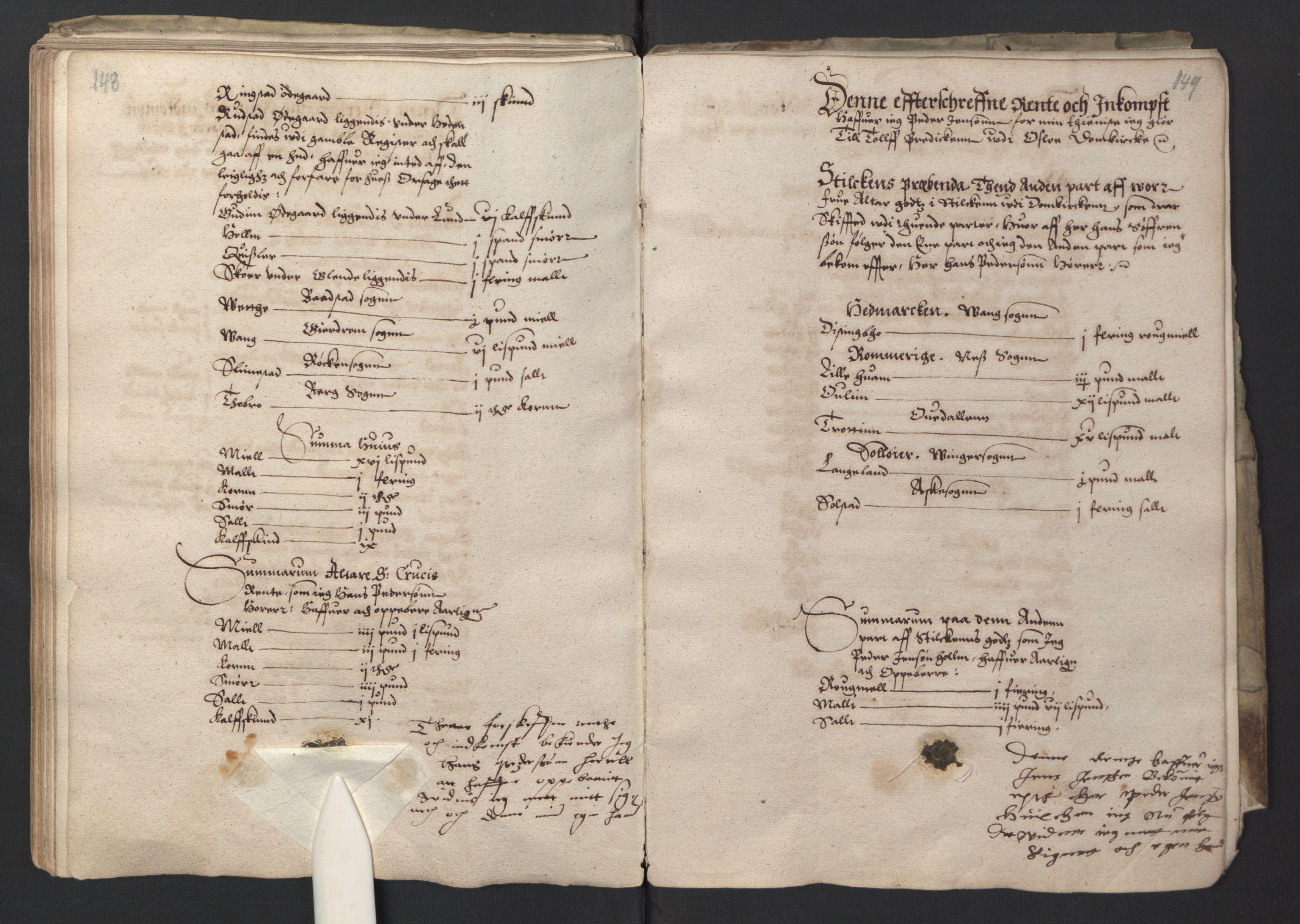 RA, Stattholderembetet 1572-1771, Ek/L0001: Jordebøker før 1624 og til utligning av garnisonsskatt 1624-1626:, 1595, s. 148-149