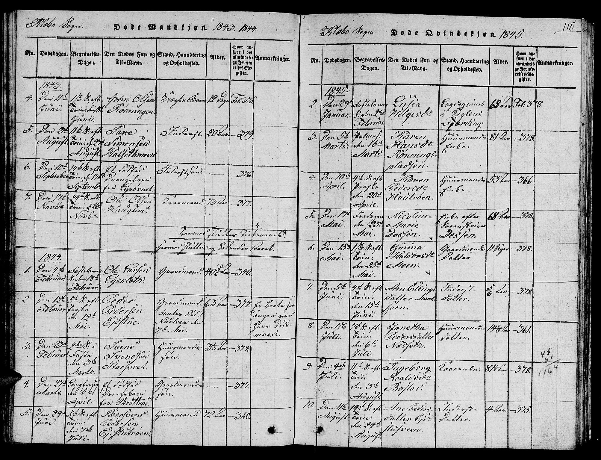 SAT, Ministerialprotokoller, klokkerbøker og fødselsregistre - Sør-Trøndelag, 618/L0450: Klokkerbok nr. 618C01, 1816-1865, s. 115