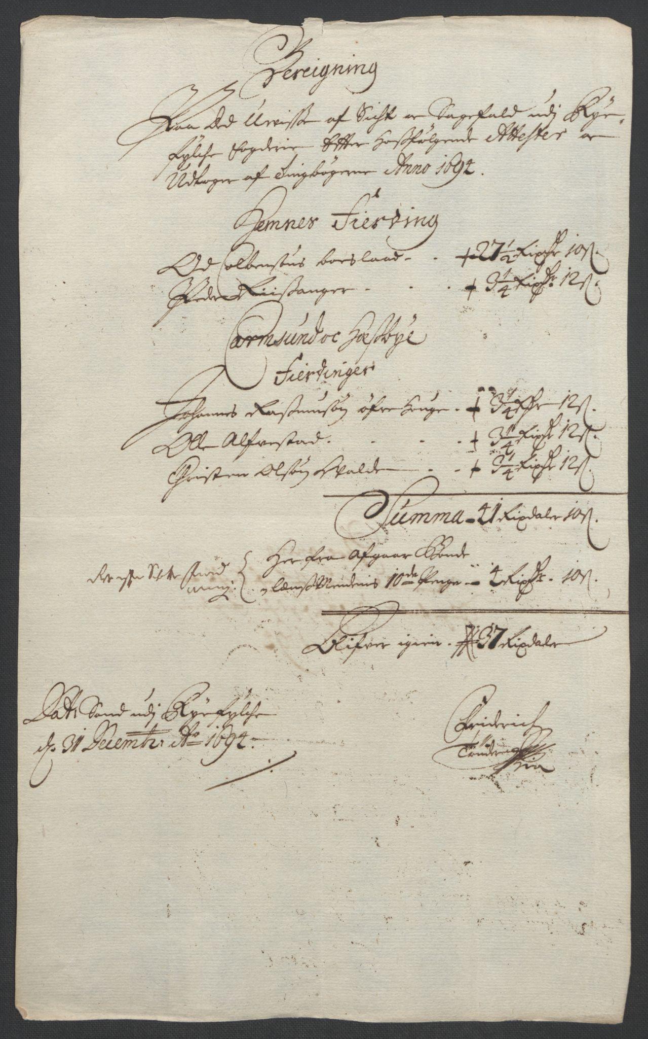RA, Rentekammeret inntil 1814, Reviderte regnskaper, Fogderegnskap, R47/L2857: Fogderegnskap Ryfylke, 1694-1696, s. 14
