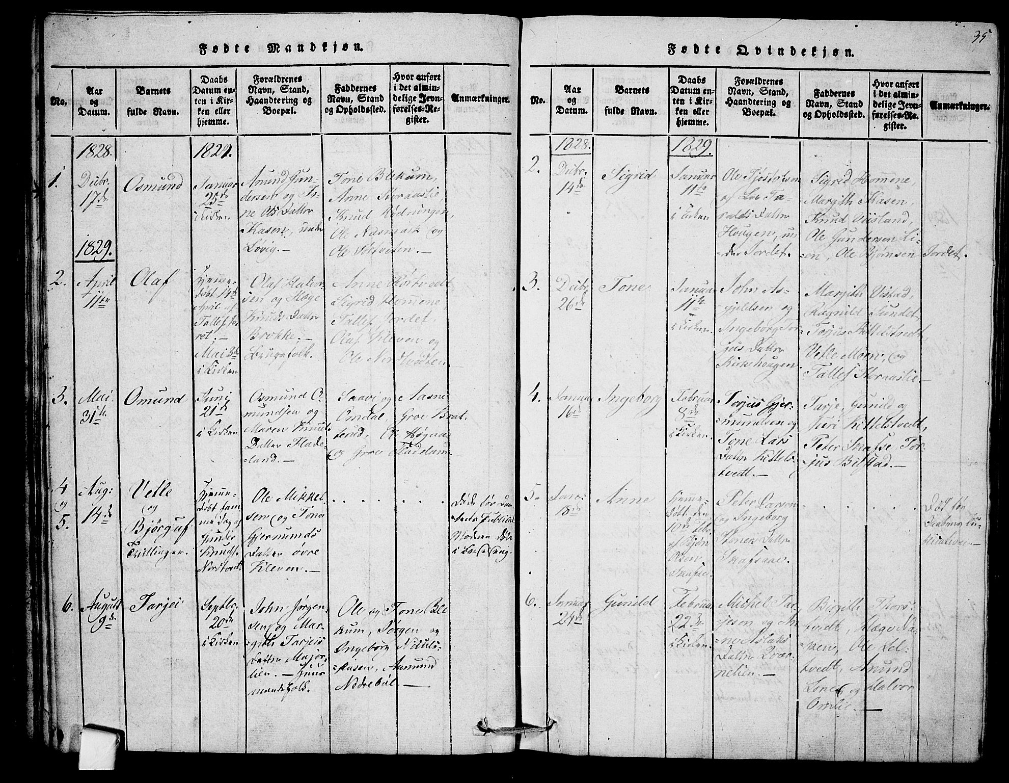 SAKO, Mo kirkebøker, F/Fb/L0001: Ministerialbok nr. II 1, 1814-1844, s. 35