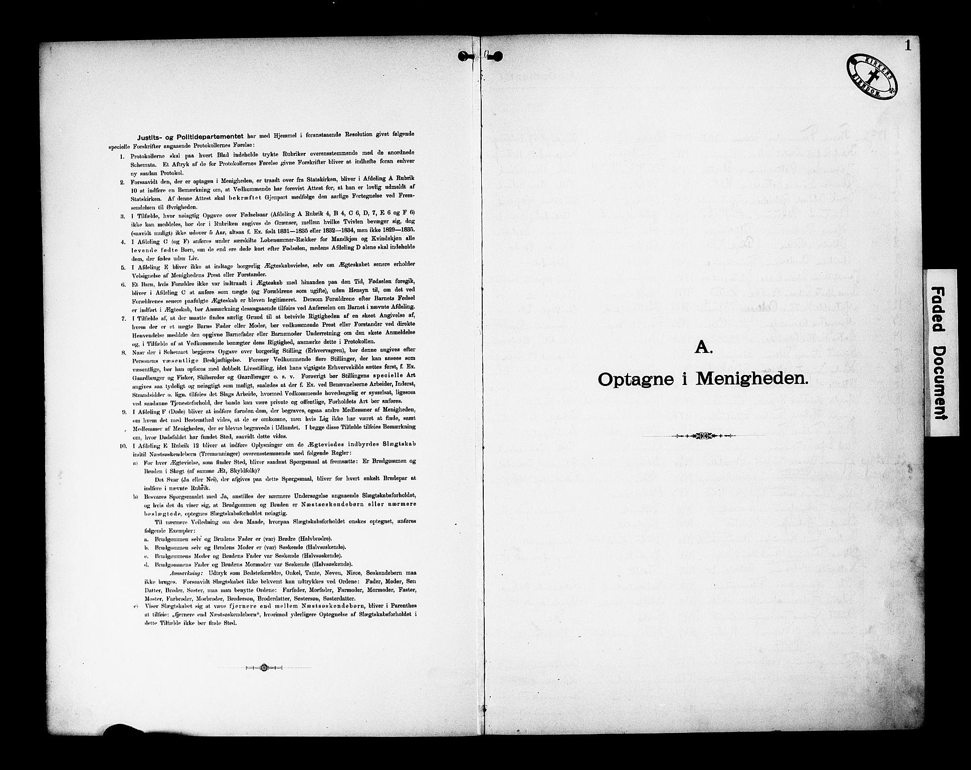 SAK, Den katolsk-apostoliske menighet, Kristiansand, F/Fa/L0002: Dissenterprotokoll nr. 2, 1896-1925, s. 1