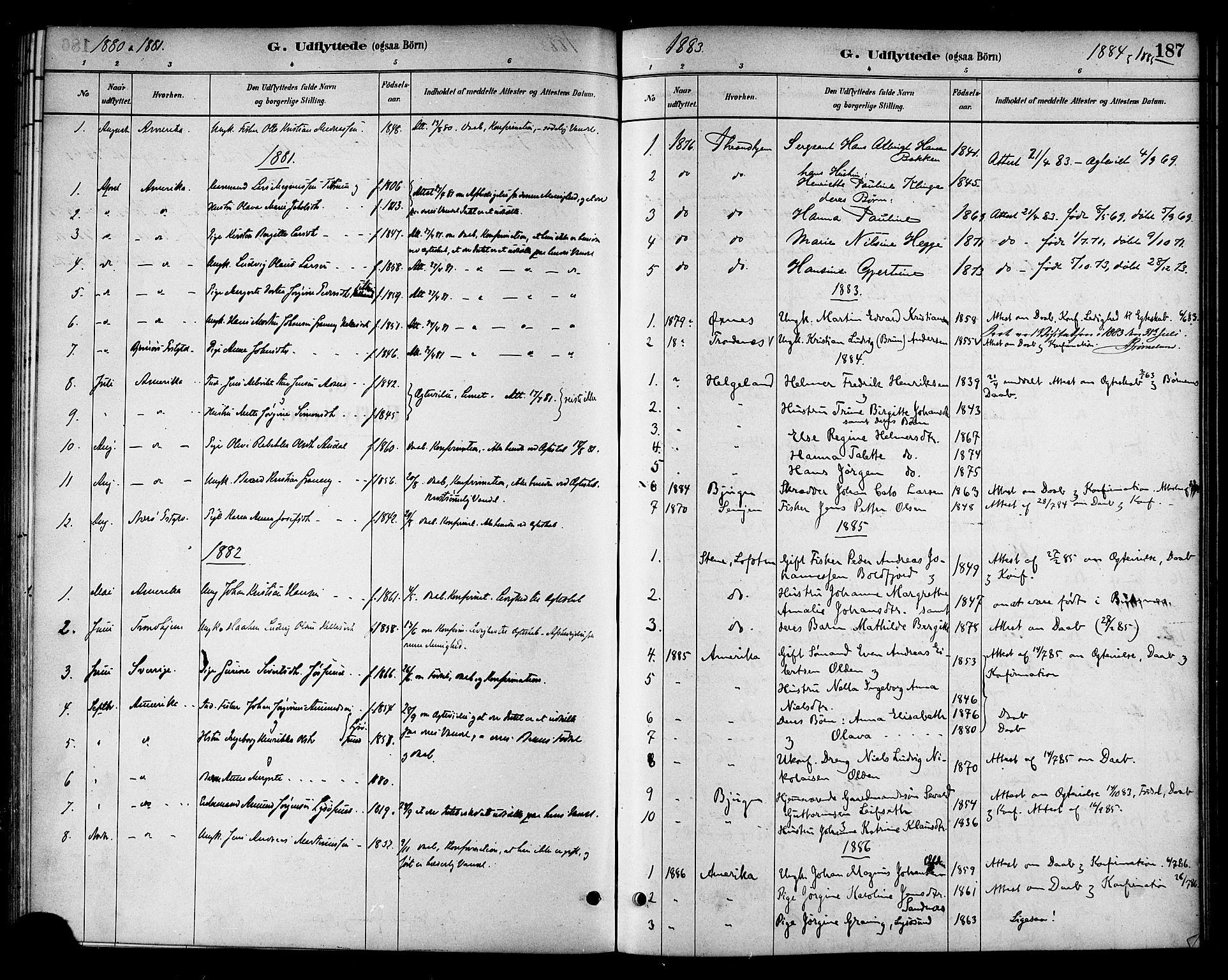 SAT, Ministerialprotokoller, klokkerbøker og fødselsregistre - Sør-Trøndelag, 654/L0663: Ministerialbok nr. 654A01, 1880-1894, s. 187