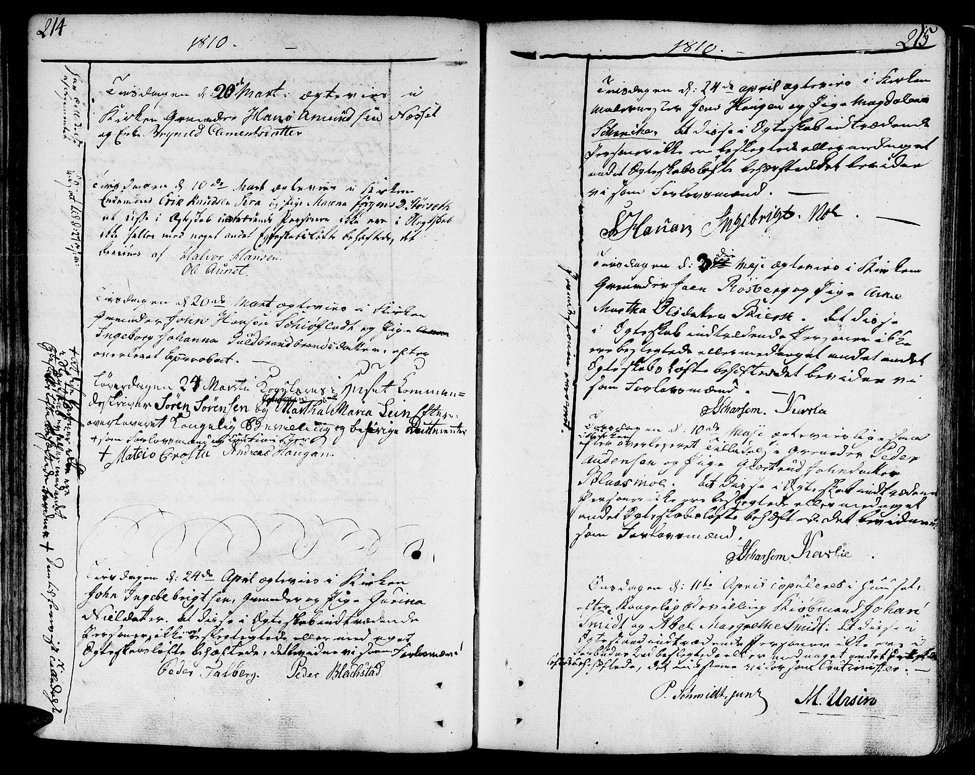 SAT, Ministerialprotokoller, klokkerbøker og fødselsregistre - Sør-Trøndelag, 602/L0105: Ministerialbok nr. 602A03, 1774-1814, s. 214-215
