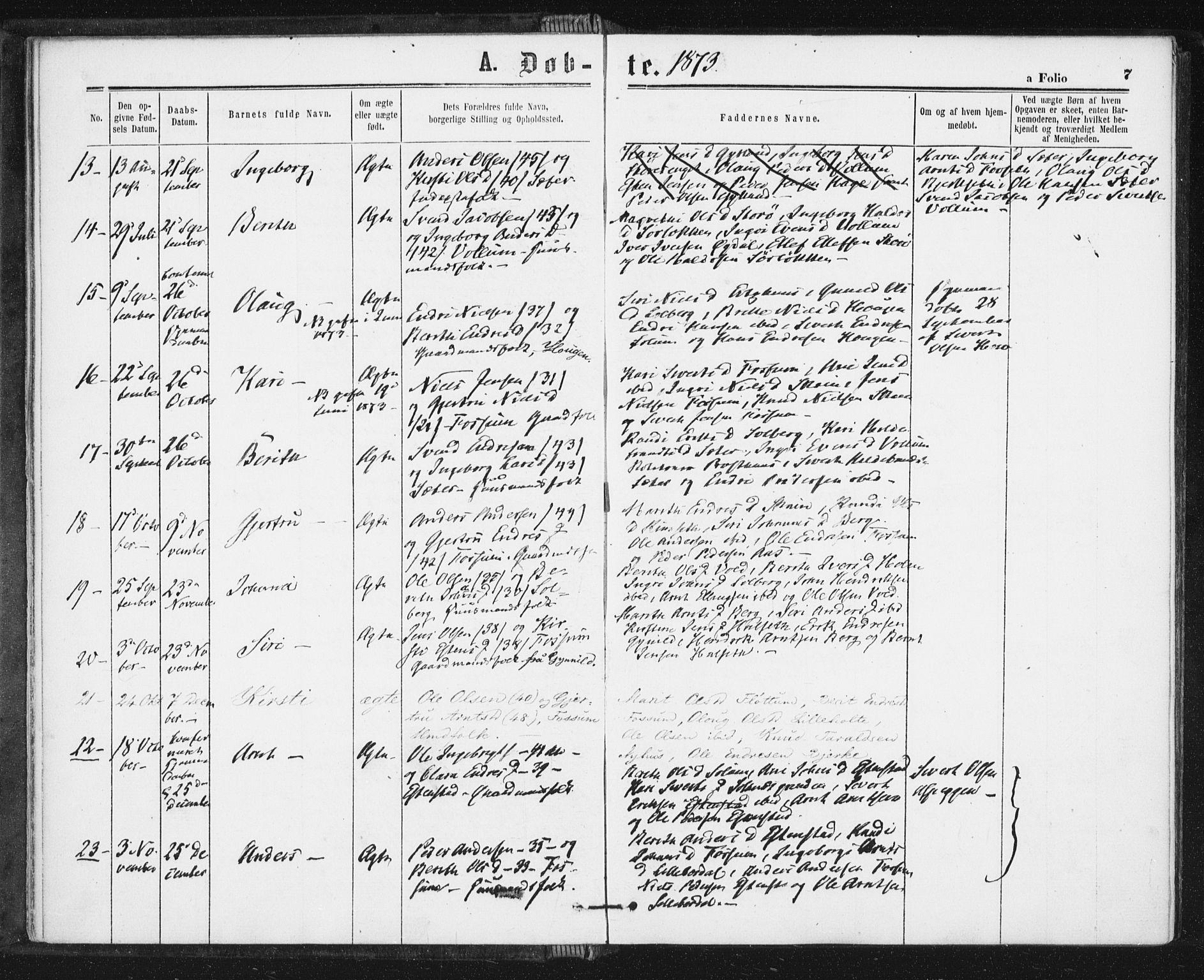 SAT, Ministerialprotokoller, klokkerbøker og fødselsregistre - Sør-Trøndelag, 689/L1039: Ministerialbok nr. 689A04, 1865-1878, s. 7