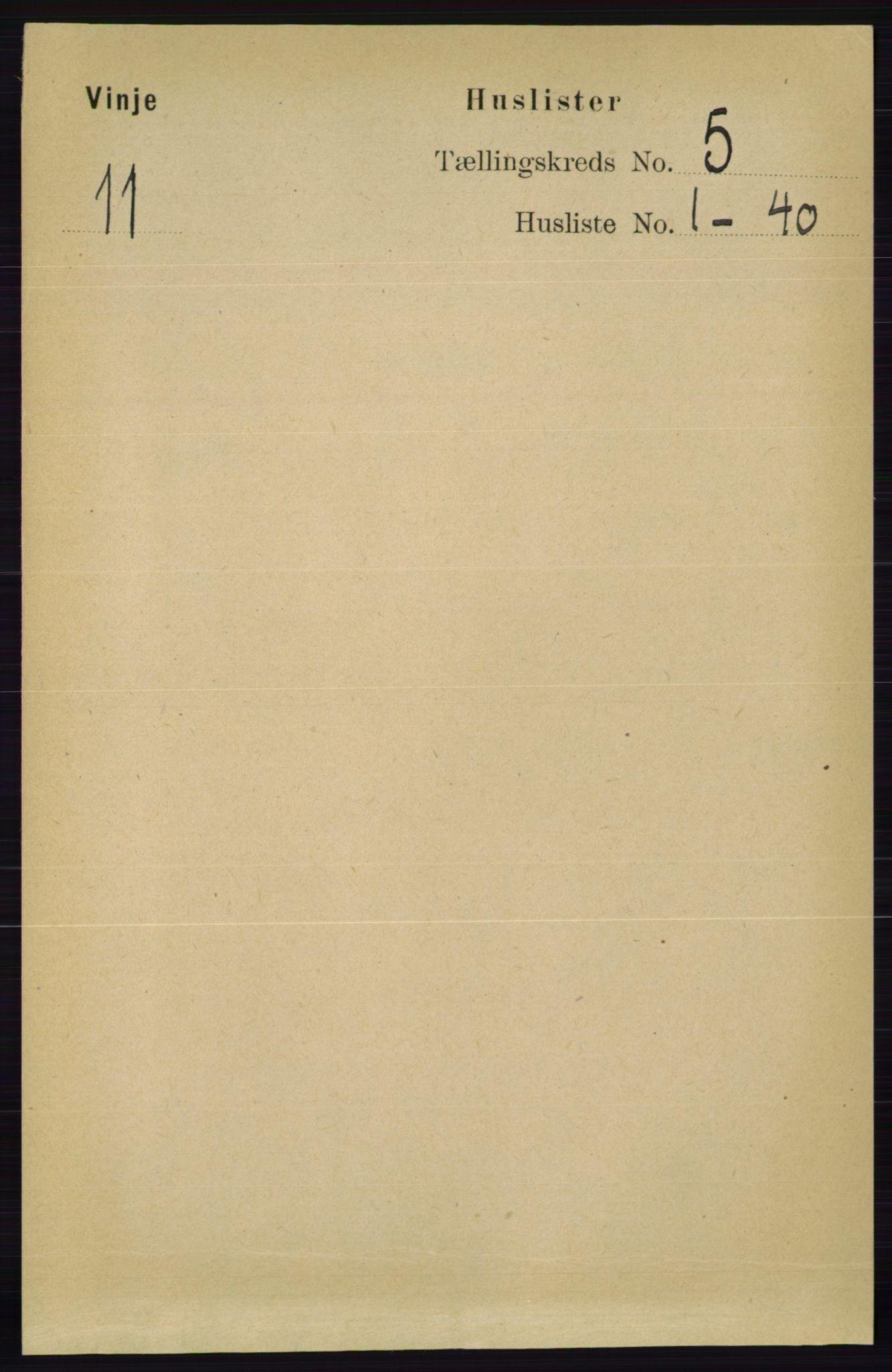 RA, Folketelling 1891 for 0834 Vinje herred, 1891, s. 1005