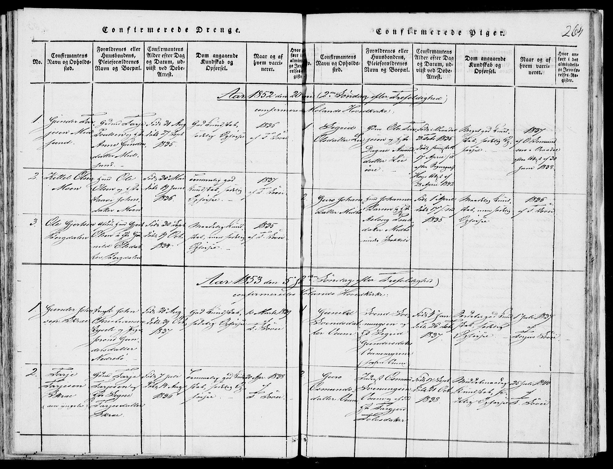 SAKO, Fyresdal kirkebøker, F/Fb/L0001: Ministerialbok nr. II 1, 1815-1854, s. 264