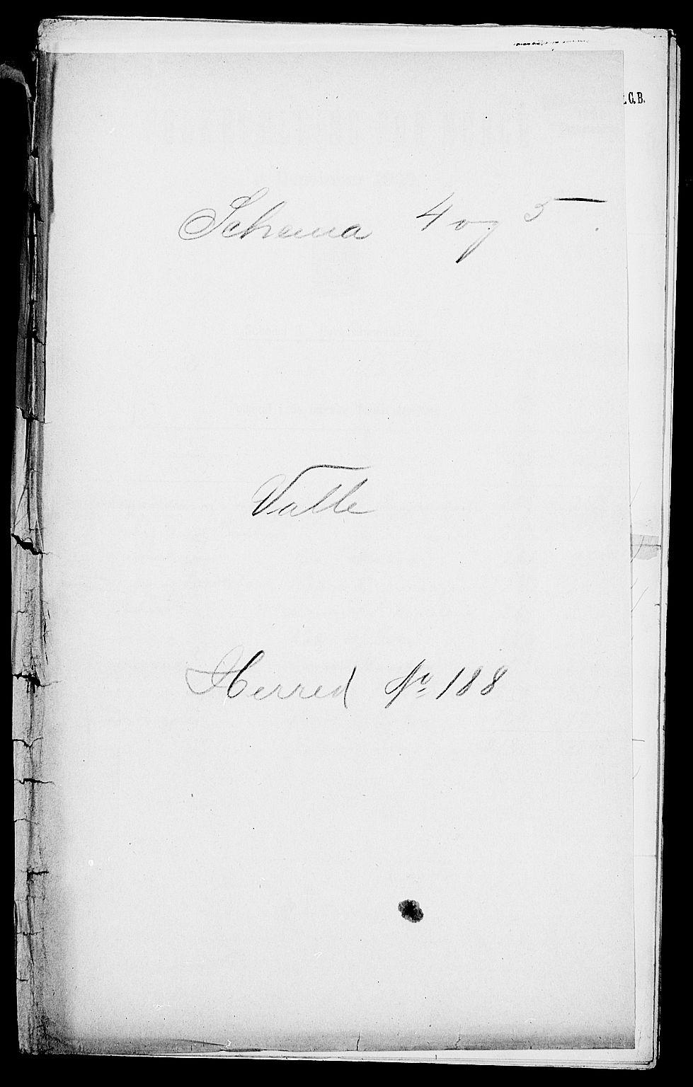 SAK, Folketelling 1900 for 0940 Valle herred, 1900, s. 1