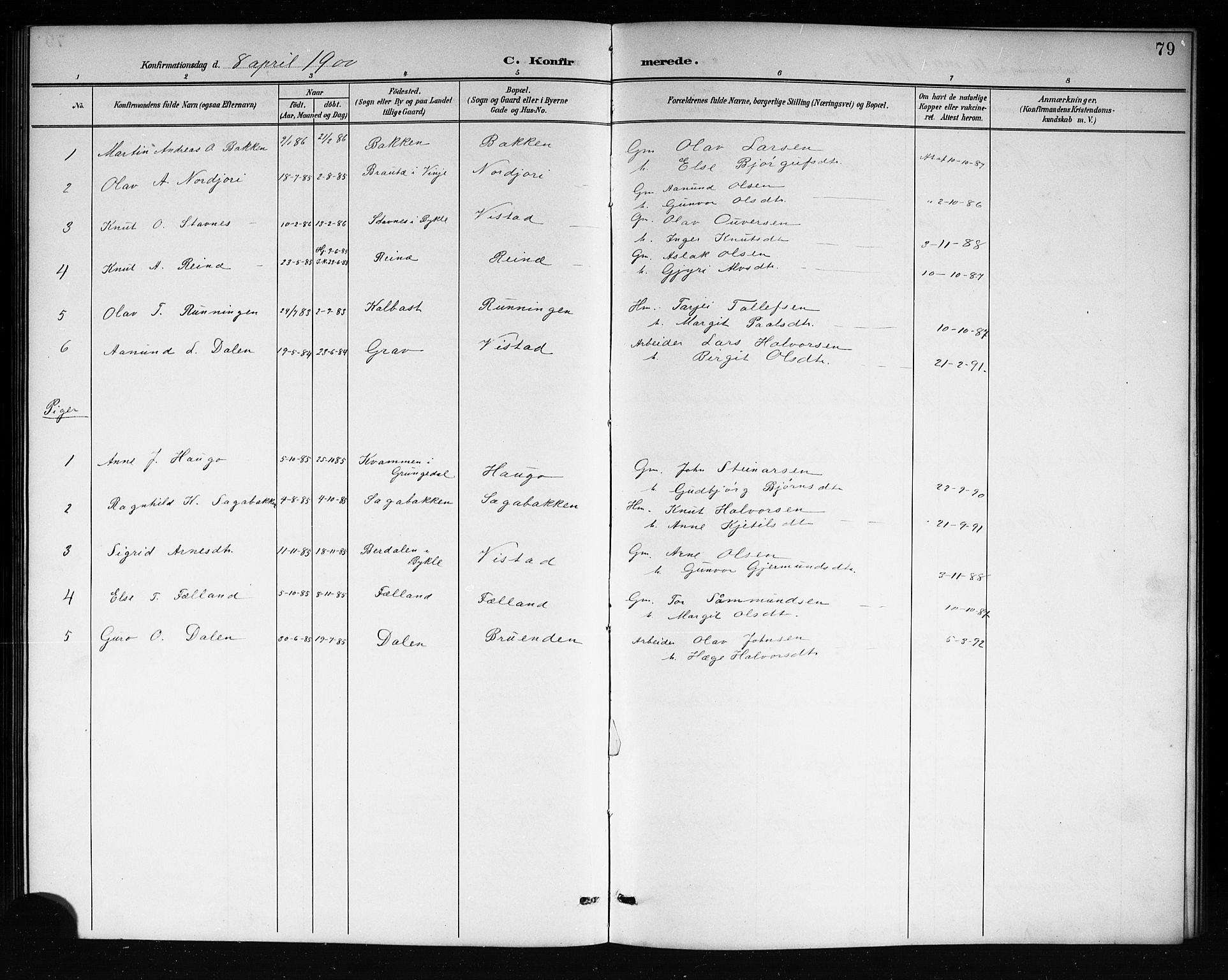 SAKO, Mo kirkebøker, G/Ga/L0002: Klokkerbok nr. I 2, 1892-1914, s. 79