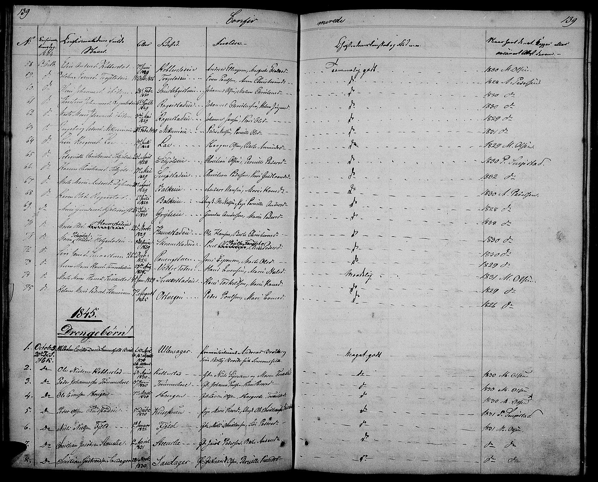SAH, Østre Toten prestekontor, Klokkerbok nr. 2, 1840-1847, s. 139