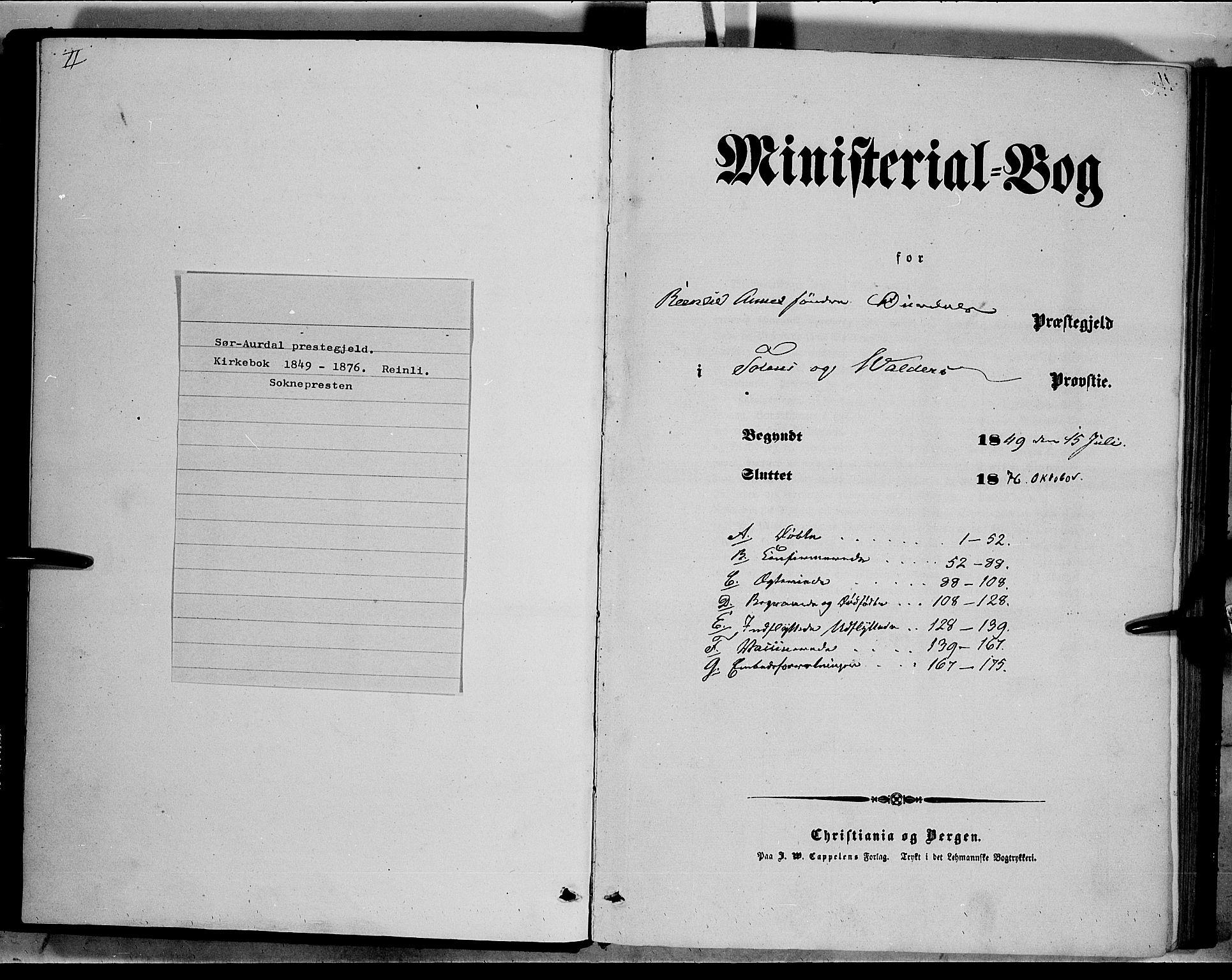 SAH, Sør-Aurdal prestekontor, Ministerialbok nr. 6, 1849-1876