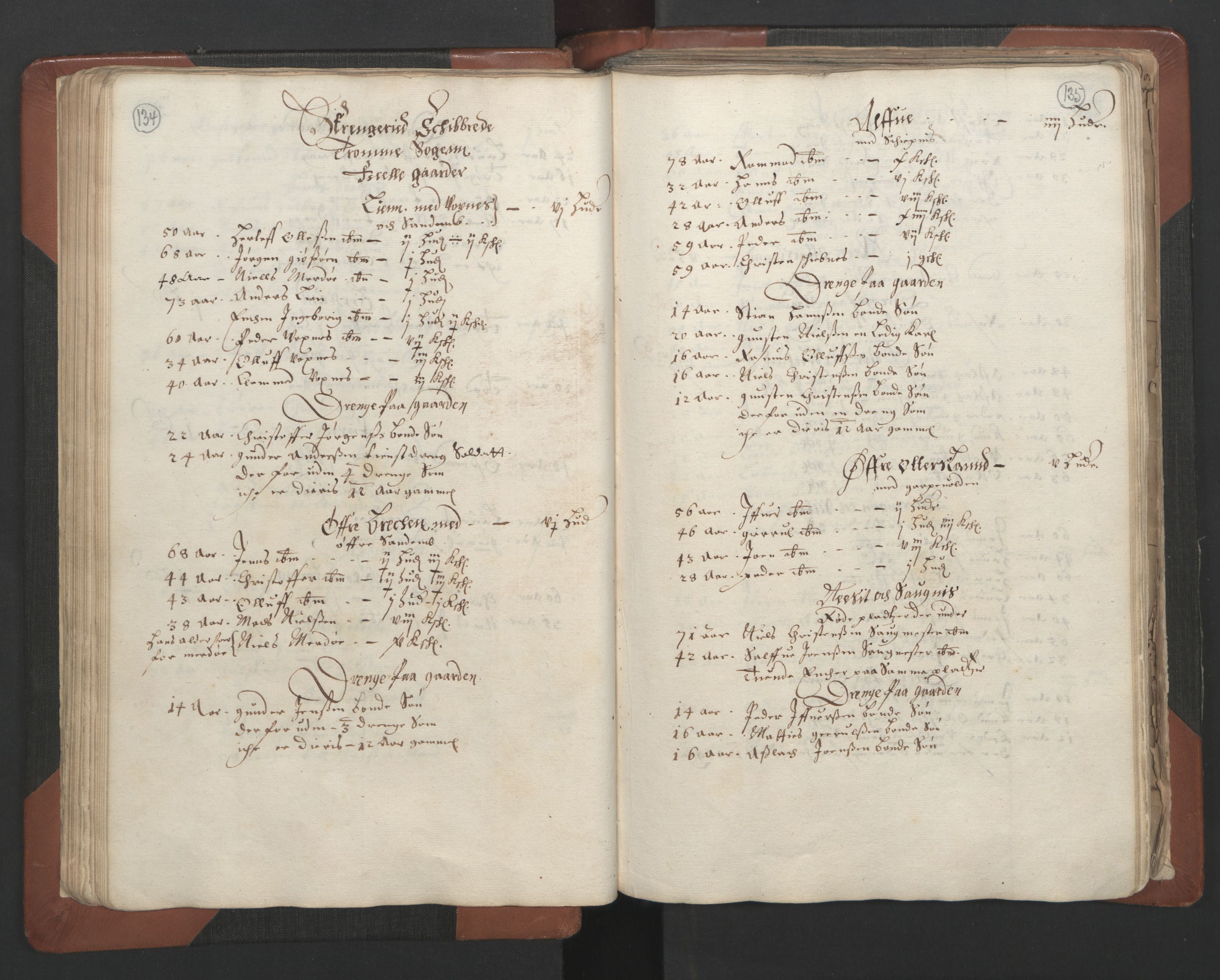 RA, Fogdenes og sorenskrivernes manntall 1664-1666, nr. 7: Nedenes fogderi, 1664-1666, s. 134-135
