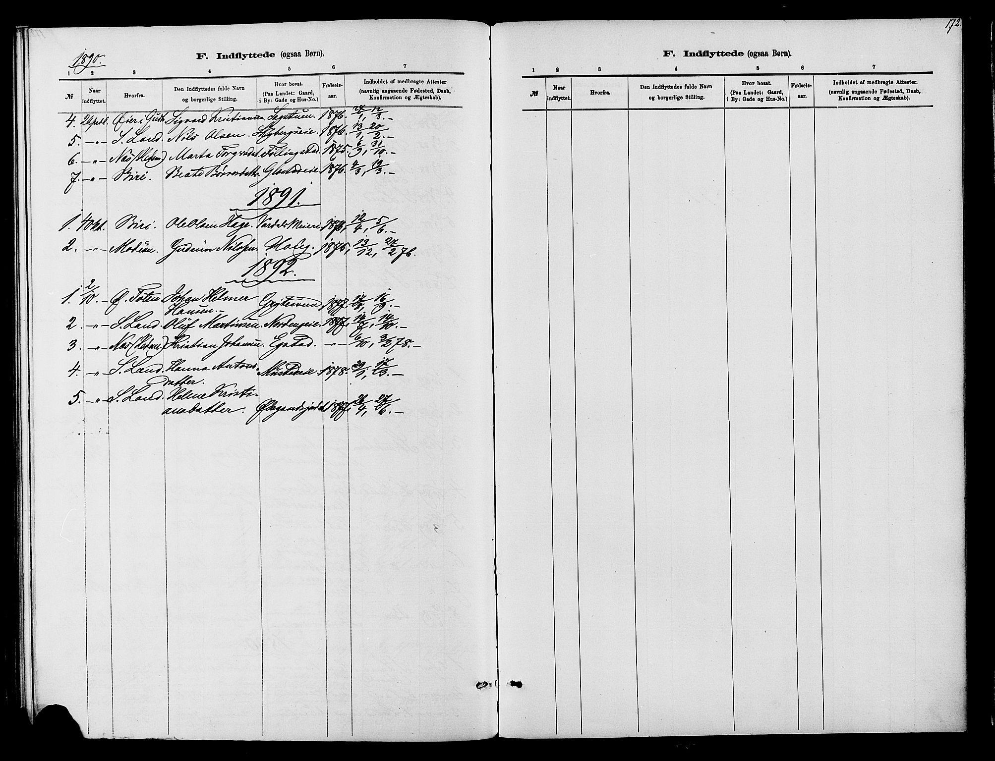SAH, Vardal prestekontor, H/Ha/Haa/L0010: Ministerialbok nr. 10, 1878-1893, s. 172