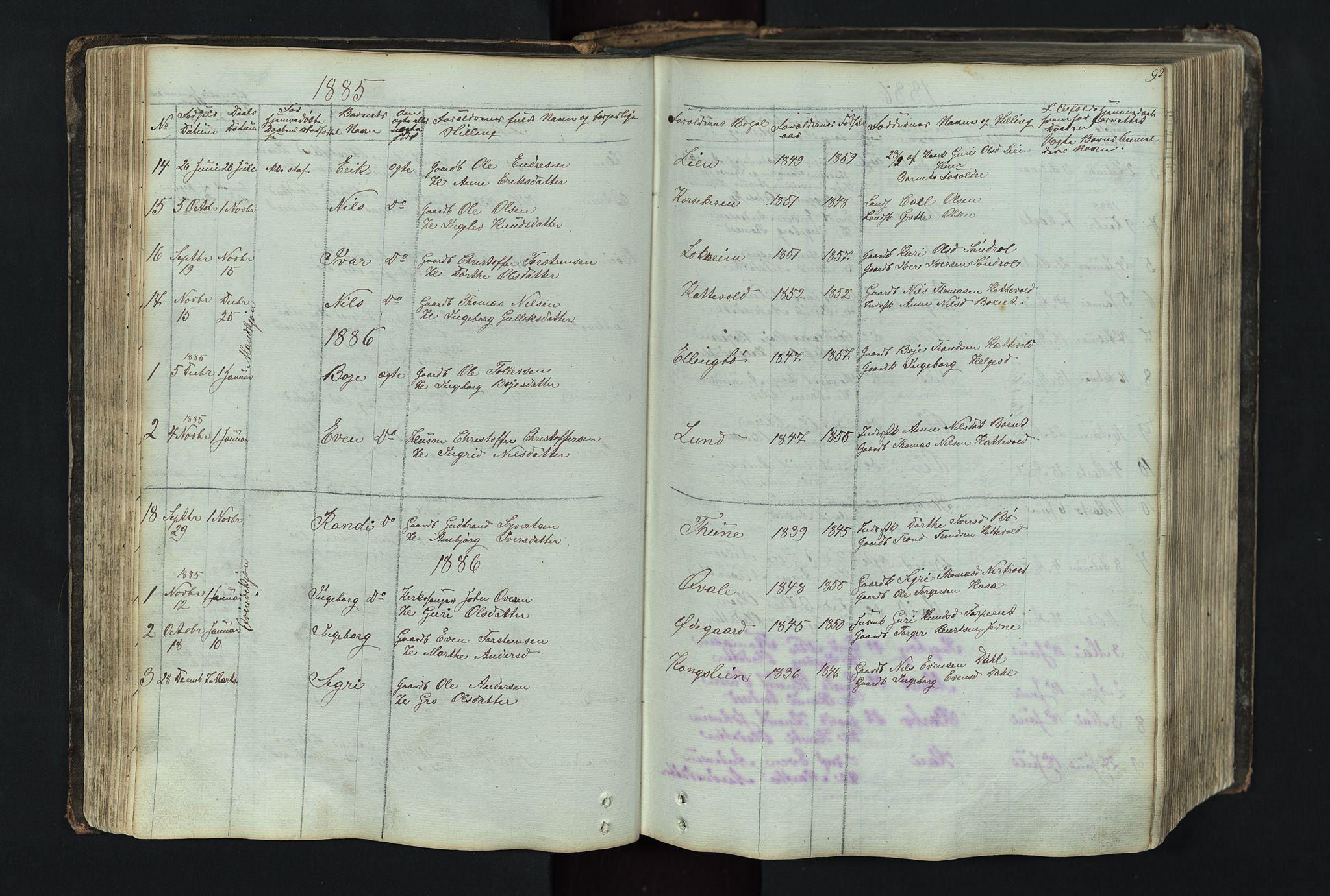 SAH, Vang prestekontor, Valdres, Klokkerbok nr. 4, 1835-1892, s. 92