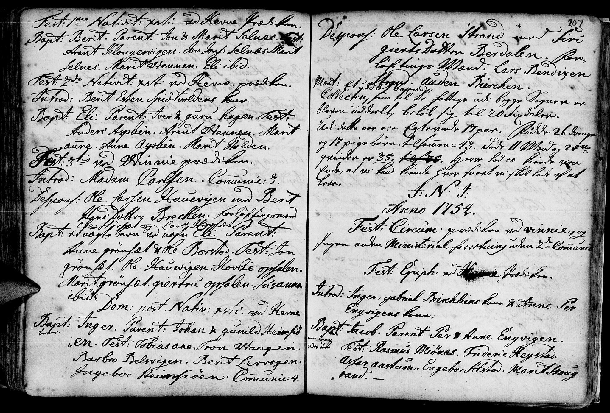 SAT, Ministerialprotokoller, klokkerbøker og fødselsregistre - Sør-Trøndelag, 630/L0488: Ministerialbok nr. 630A01, 1717-1756, s. 206-207