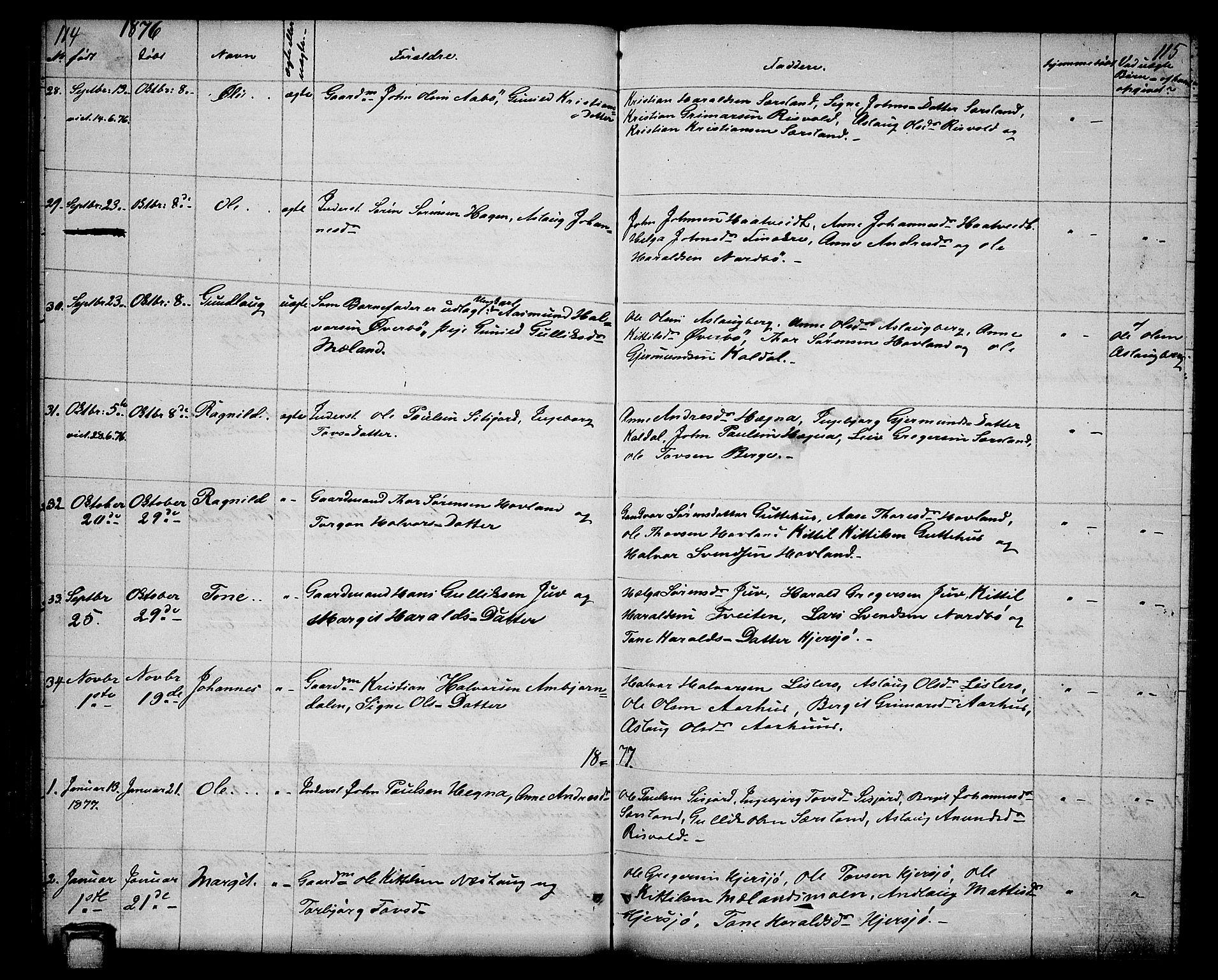 SAKO, Hjartdal kirkebøker, G/Ga/L0002: Klokkerbok nr. I 2, 1854-1888, s. 114-115