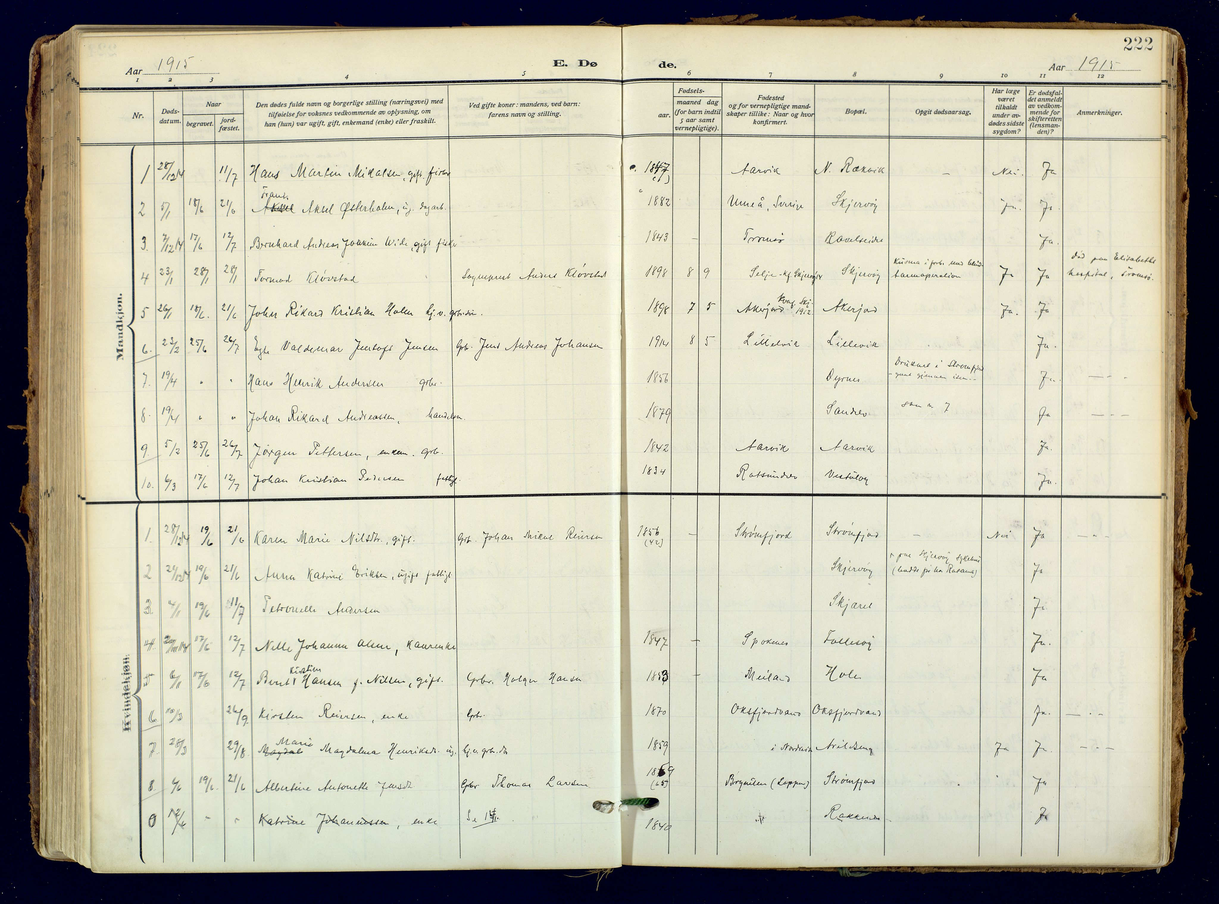 SATØ, Skjervøy sokneprestkontor, H/Ha/Haa: Ministerialbok nr. 18, 1910-1926, s. 222