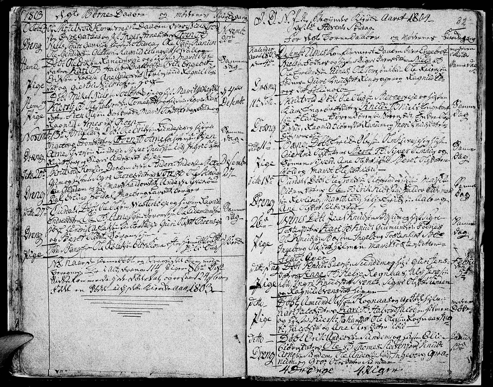 SAH, Aurdal prestekontor, Ministerialbok nr. 7, 1800-1808, s. 32