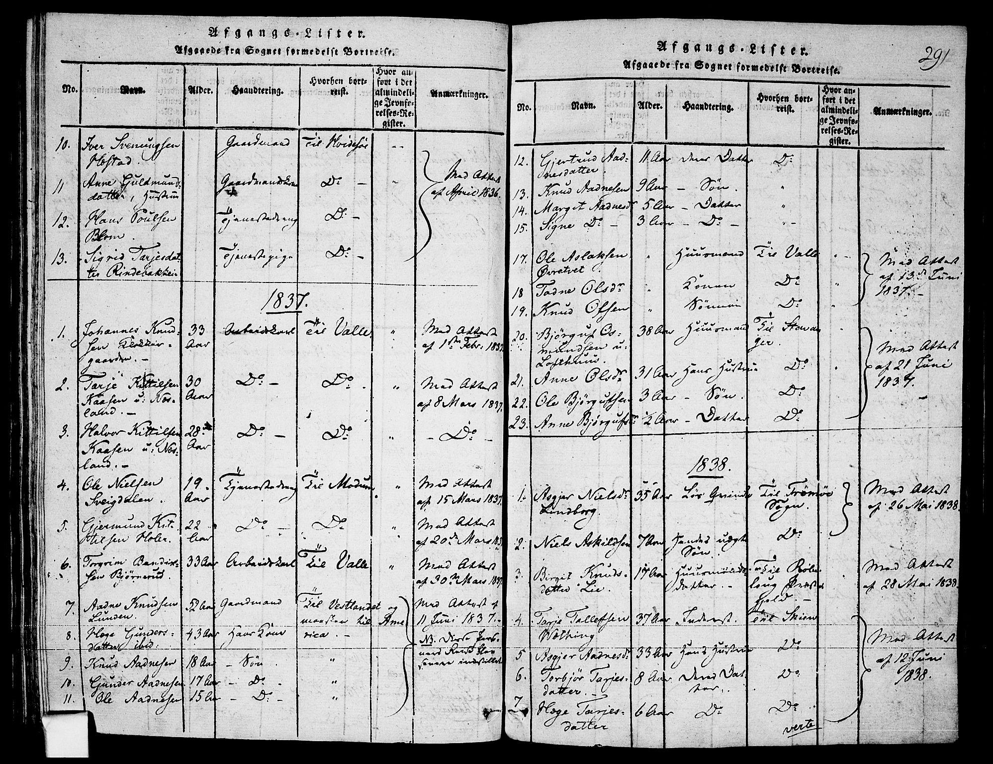 SAKO, Fyresdal kirkebøker, F/Fa/L0003: Ministerialbok nr. I 3, 1815-1840, s. 291