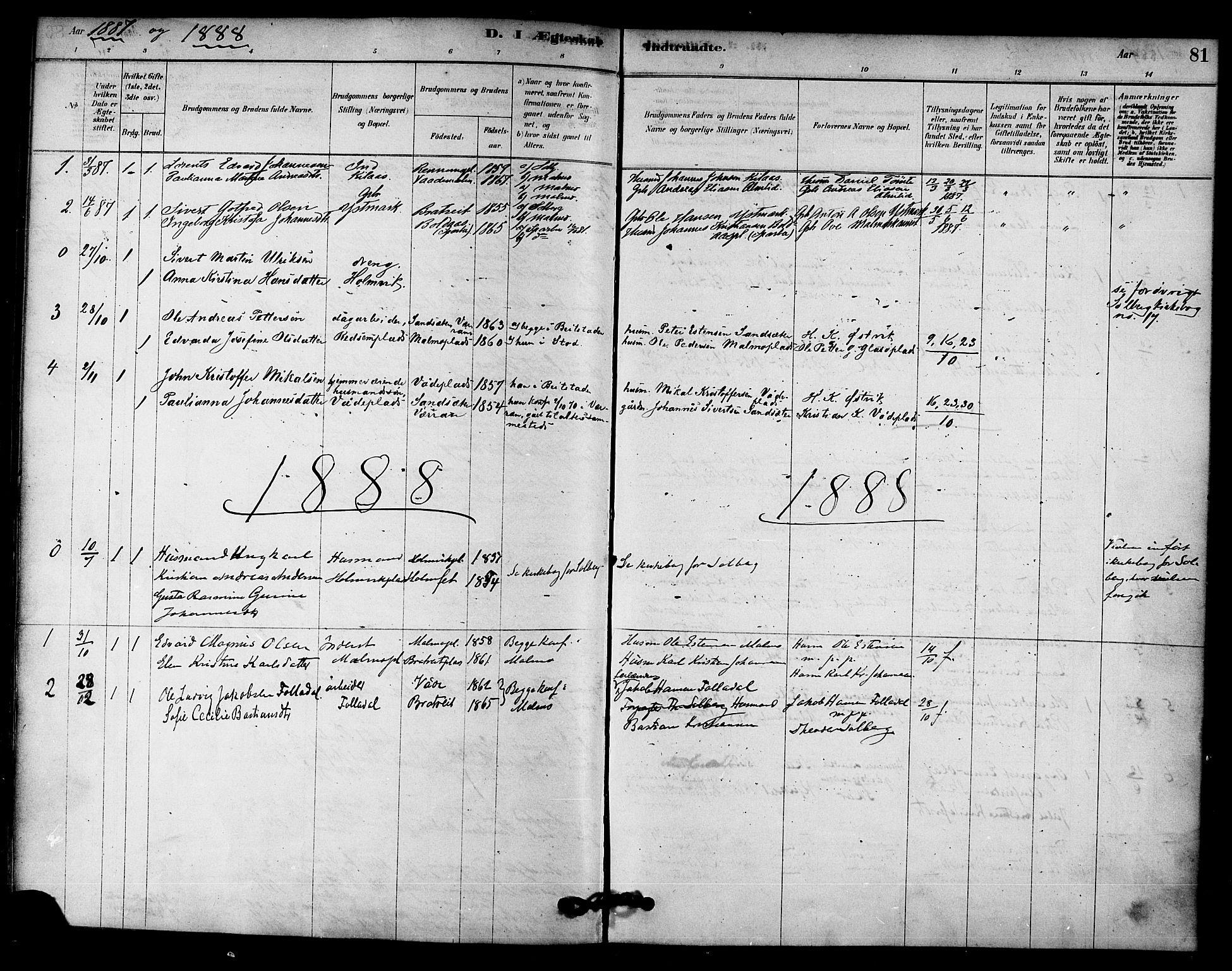 SAT, Ministerialprotokoller, klokkerbøker og fødselsregistre - Nord-Trøndelag, 745/L0429: Ministerialbok nr. 745A01, 1878-1894, s. 81