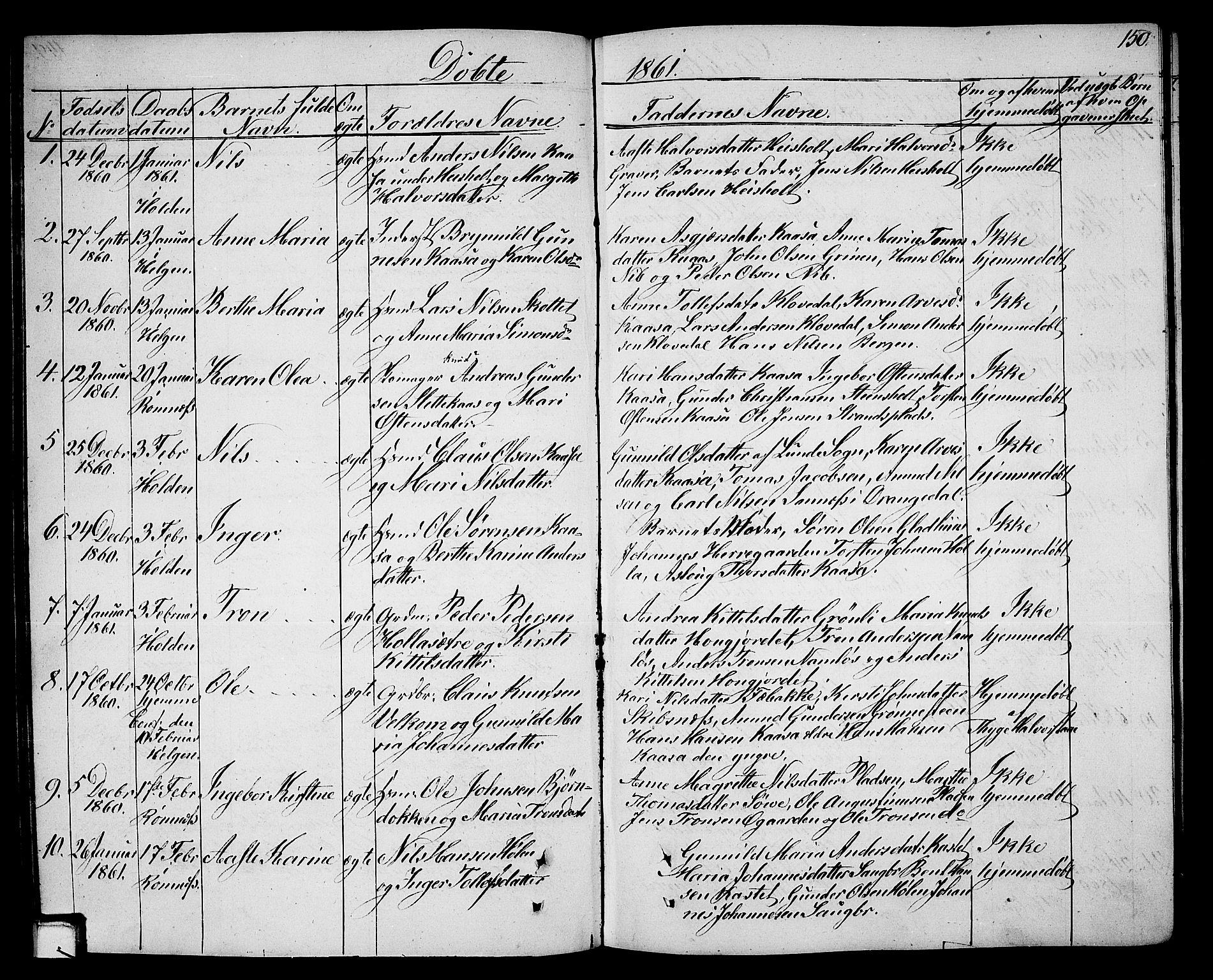 SAKO, Holla kirkebøker, G/Ga/L0003: Klokkerbok nr. I 3, 1849-1866, s. 150