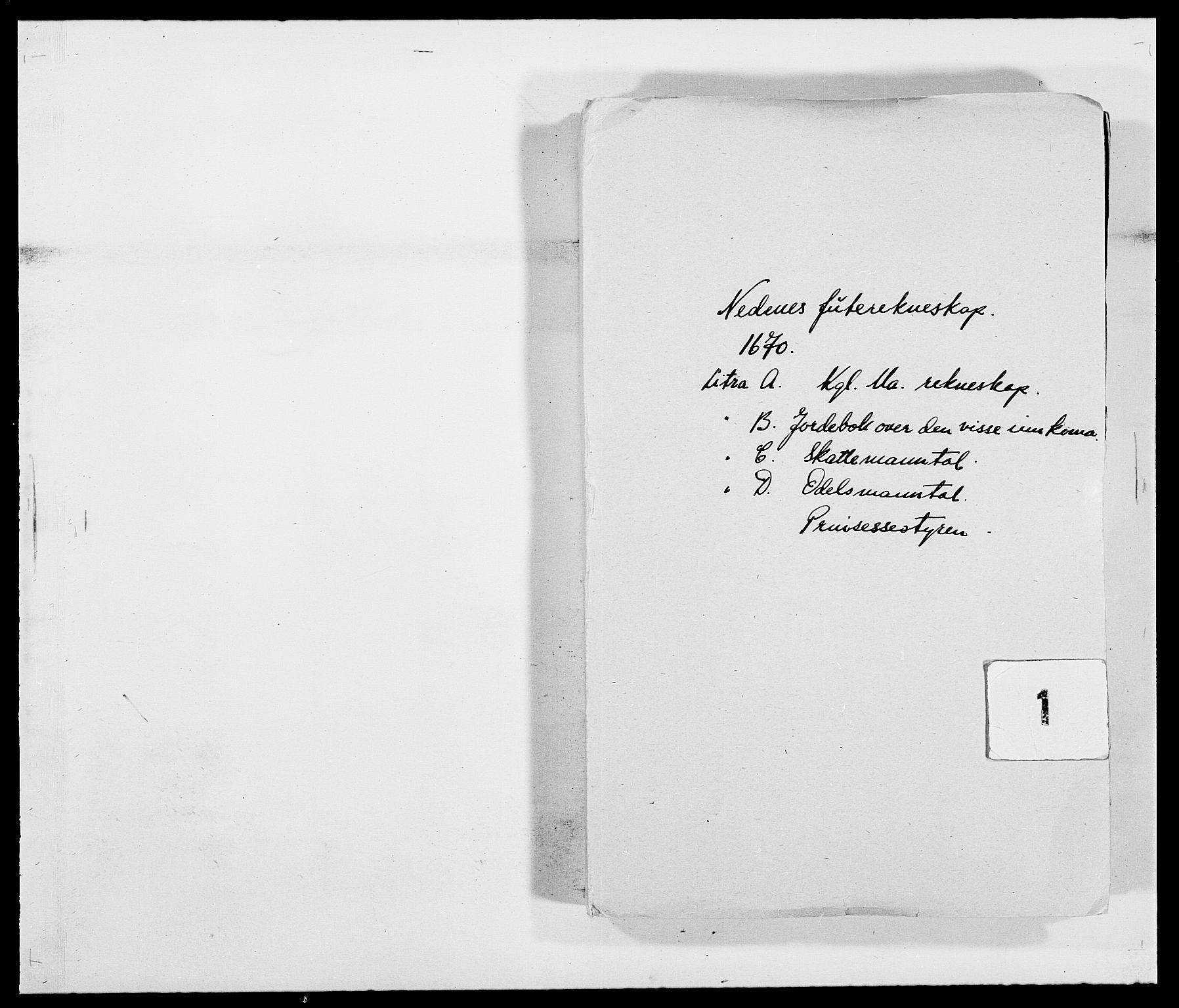 RA, Rentekammeret inntil 1814, Reviderte regnskaper, Fogderegnskap, R39/L2299: Fogderegnskap Nedenes, 1670-1671, s. 1