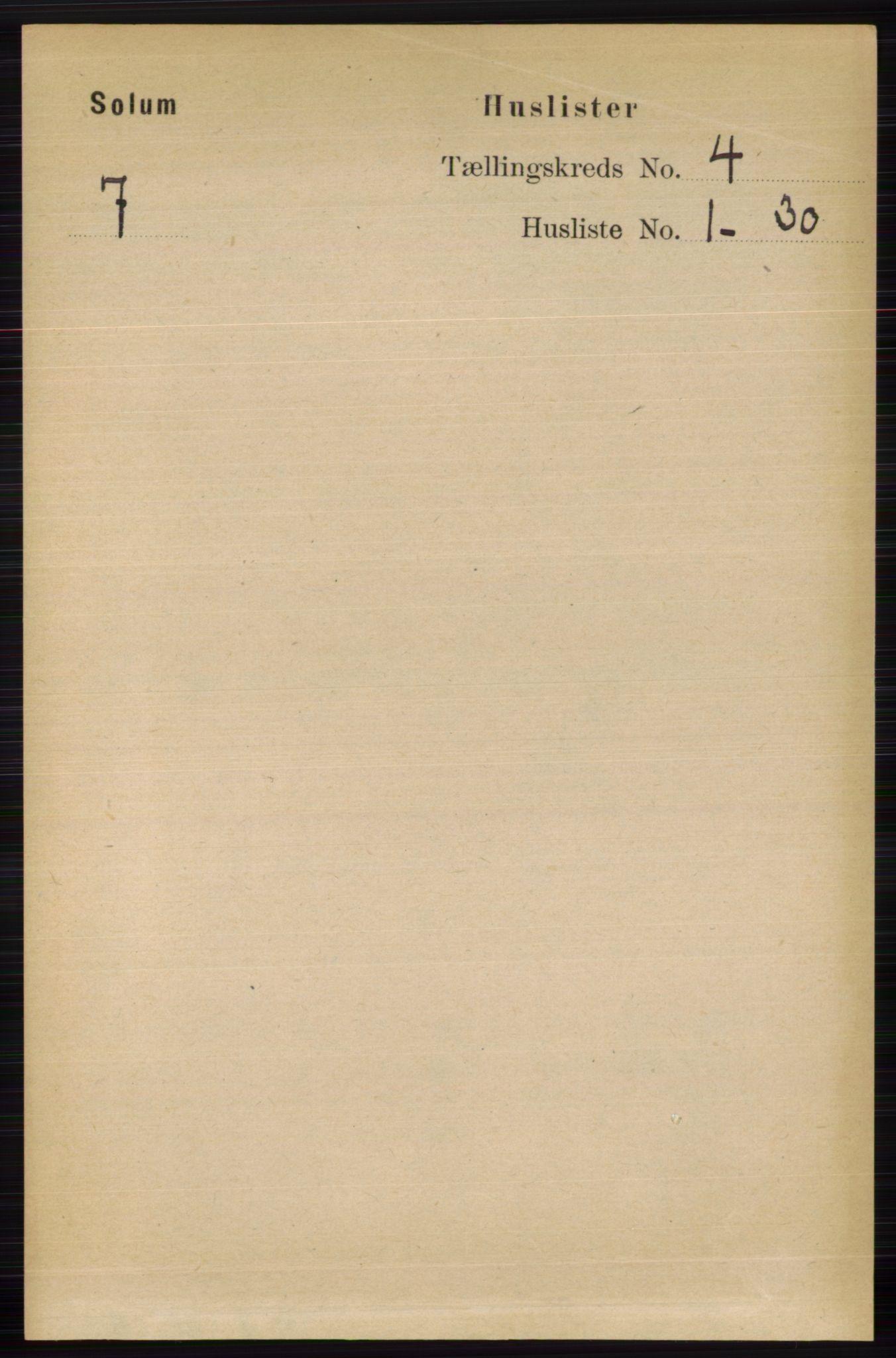 RA, Folketelling 1891 for 0818 Solum herred, 1891, s. 587