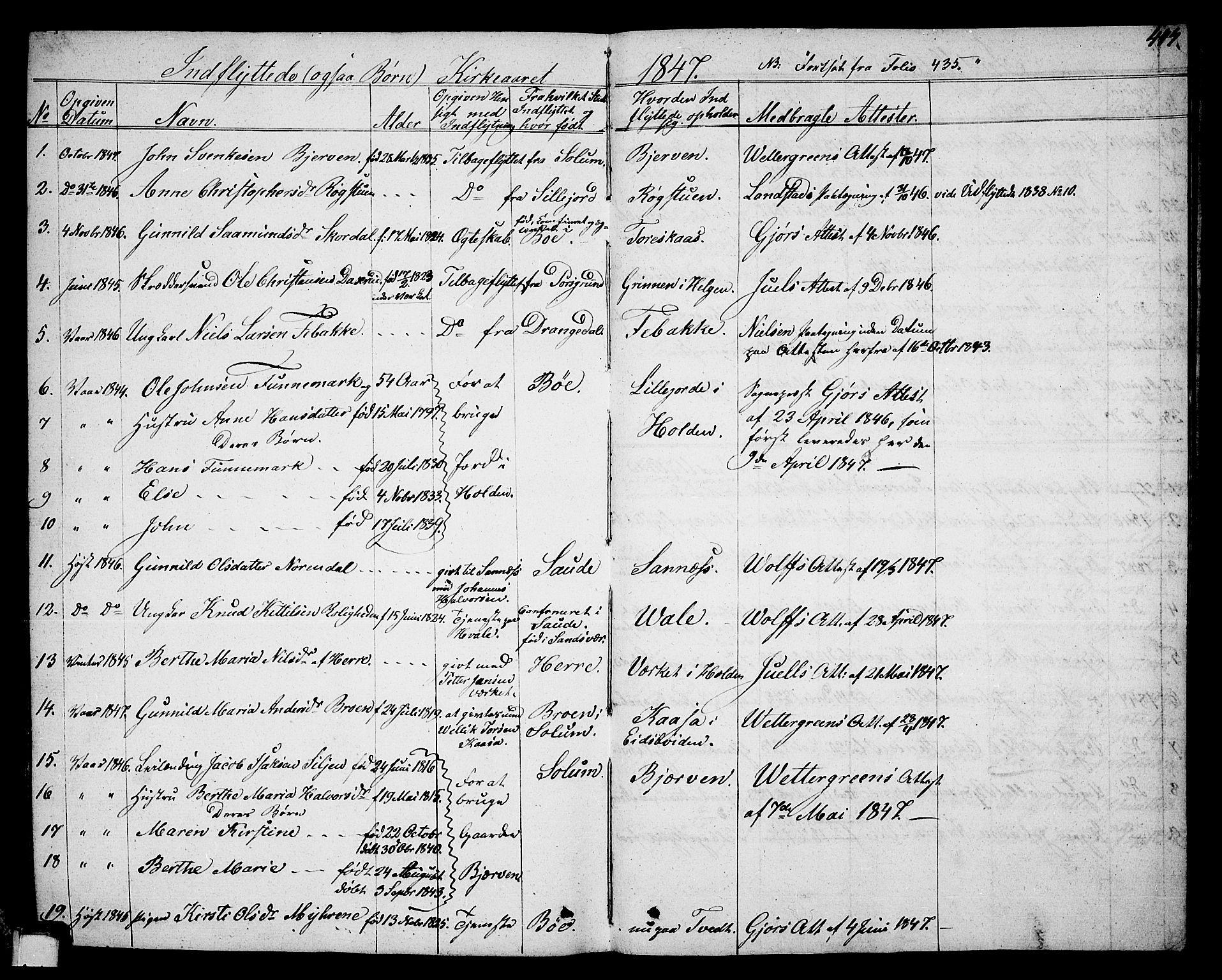 SAKO, Holla kirkebøker, G/Ga/L0002: Klokkerbok nr. I 2, 1830-1848, s. 447