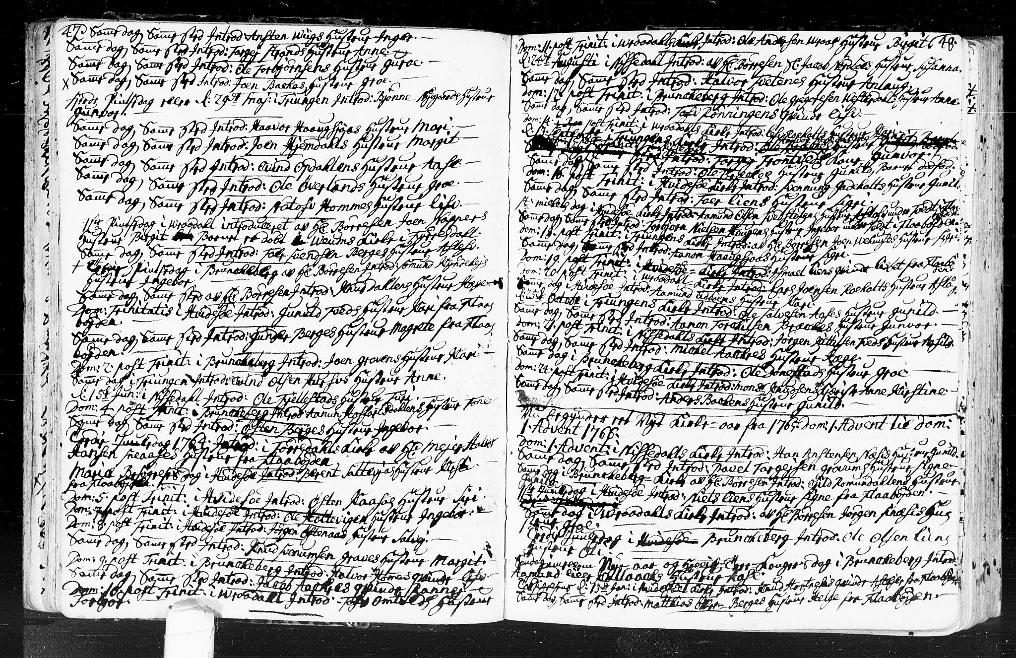 SAKO, Kviteseid kirkebøker, F/Fa/L0001: Ministerialbok nr. I 1, 1754-1773, s. 47-48