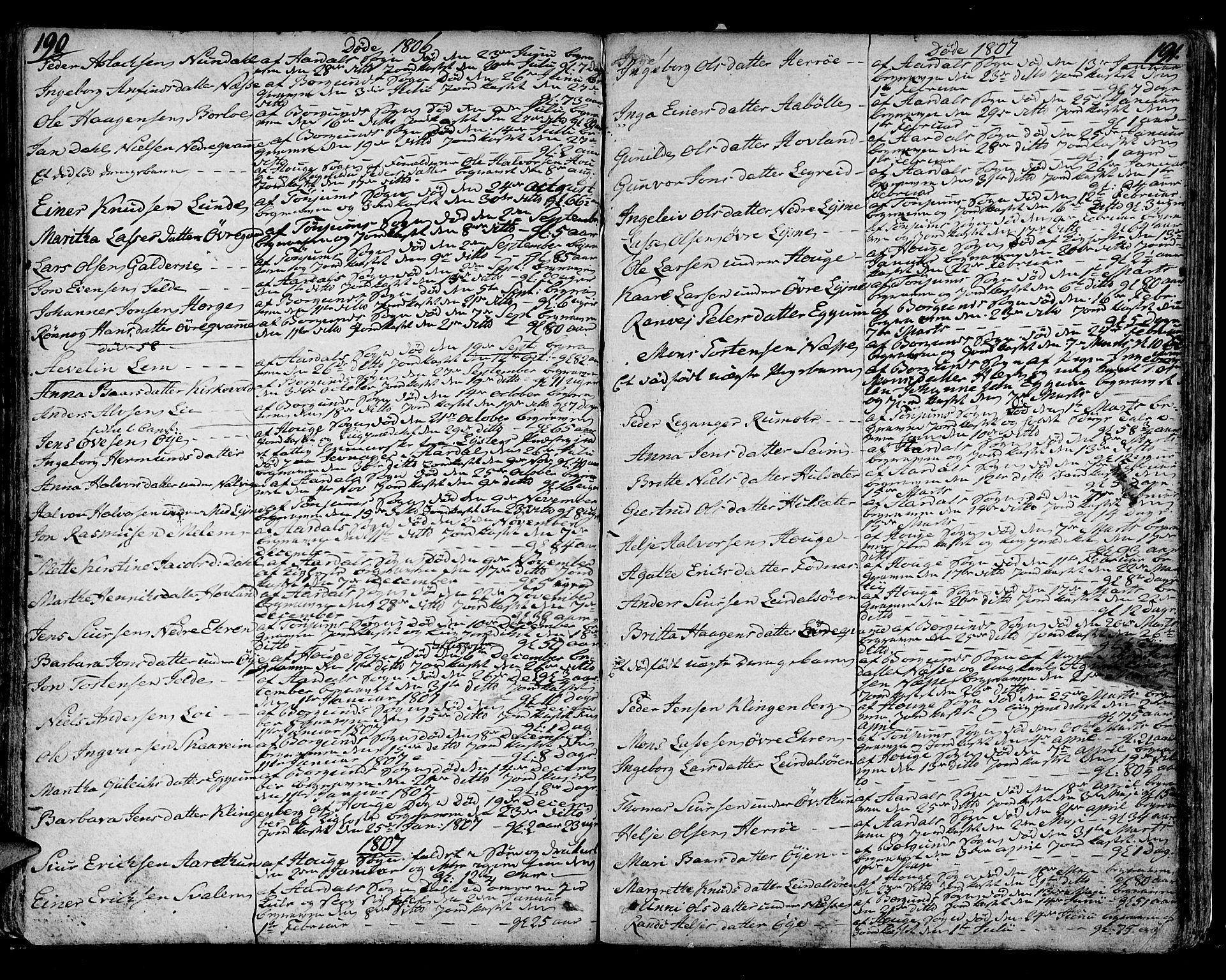 SAB, Lærdal sokneprestembete, Ministerialbok nr. A 4, 1805-1821, s. 190-191