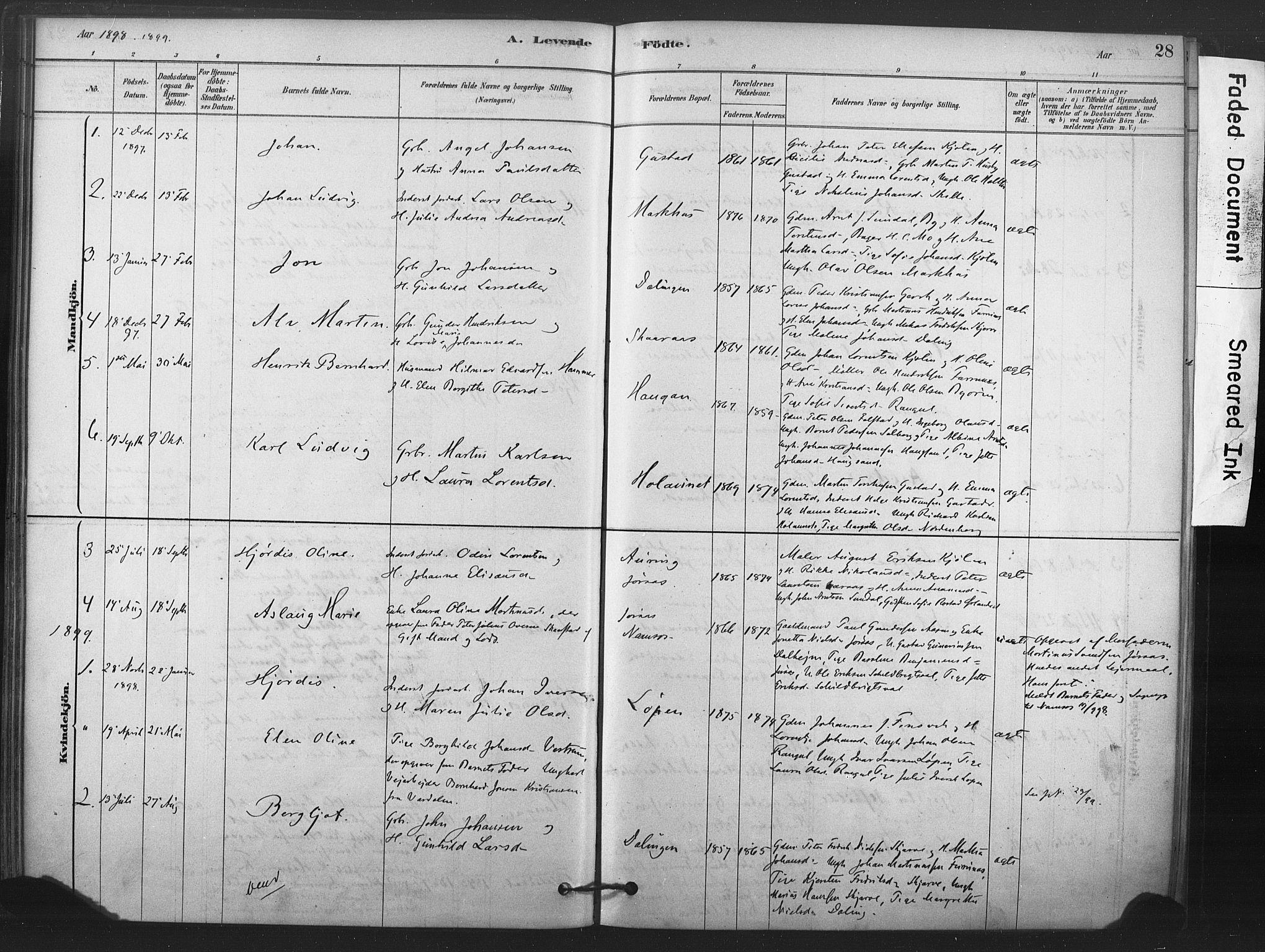 SAT, Ministerialprotokoller, klokkerbøker og fødselsregistre - Nord-Trøndelag, 719/L0178: Ministerialbok nr. 719A01, 1878-1900, s. 28