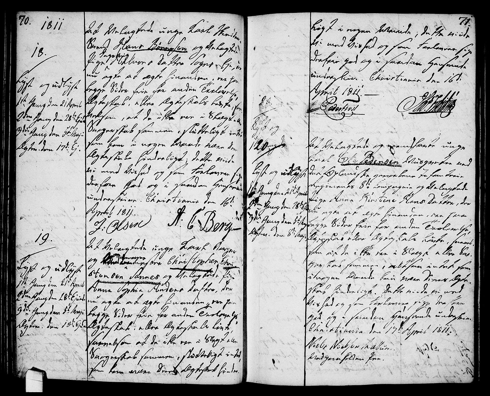 SAO, Oslo domkirke Kirkebøker, L/La/L0011: Forlovererklæringer nr. 11, 1807-1819, s. 70-71