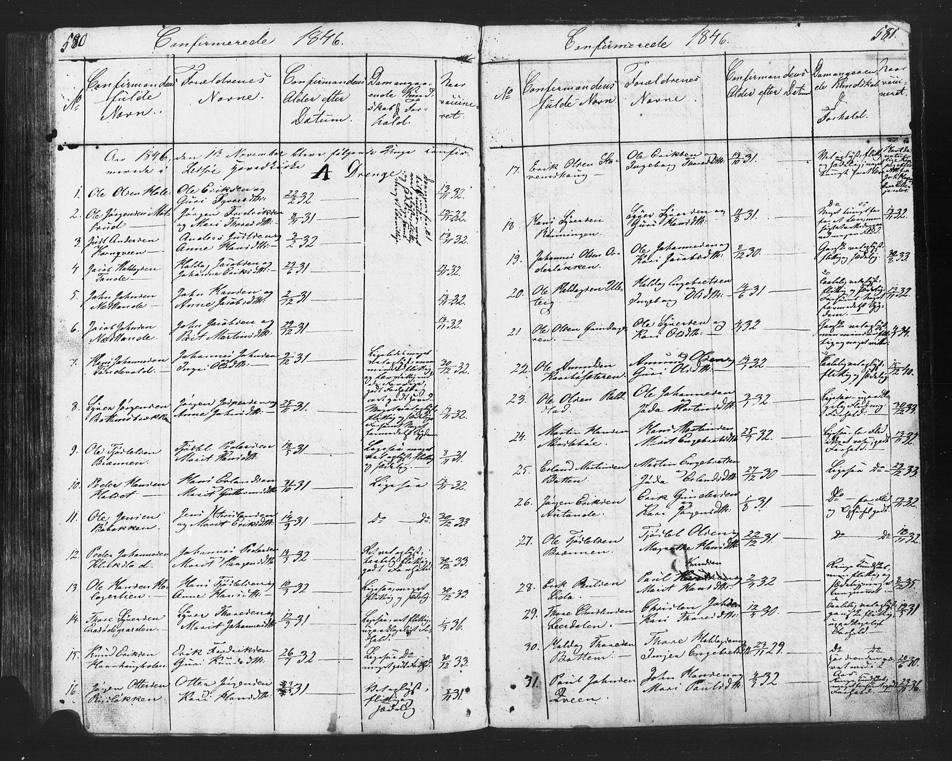 SAH, Lesja prestekontor, Klokkerbok nr. 2, 1832-1850, s. 580-581