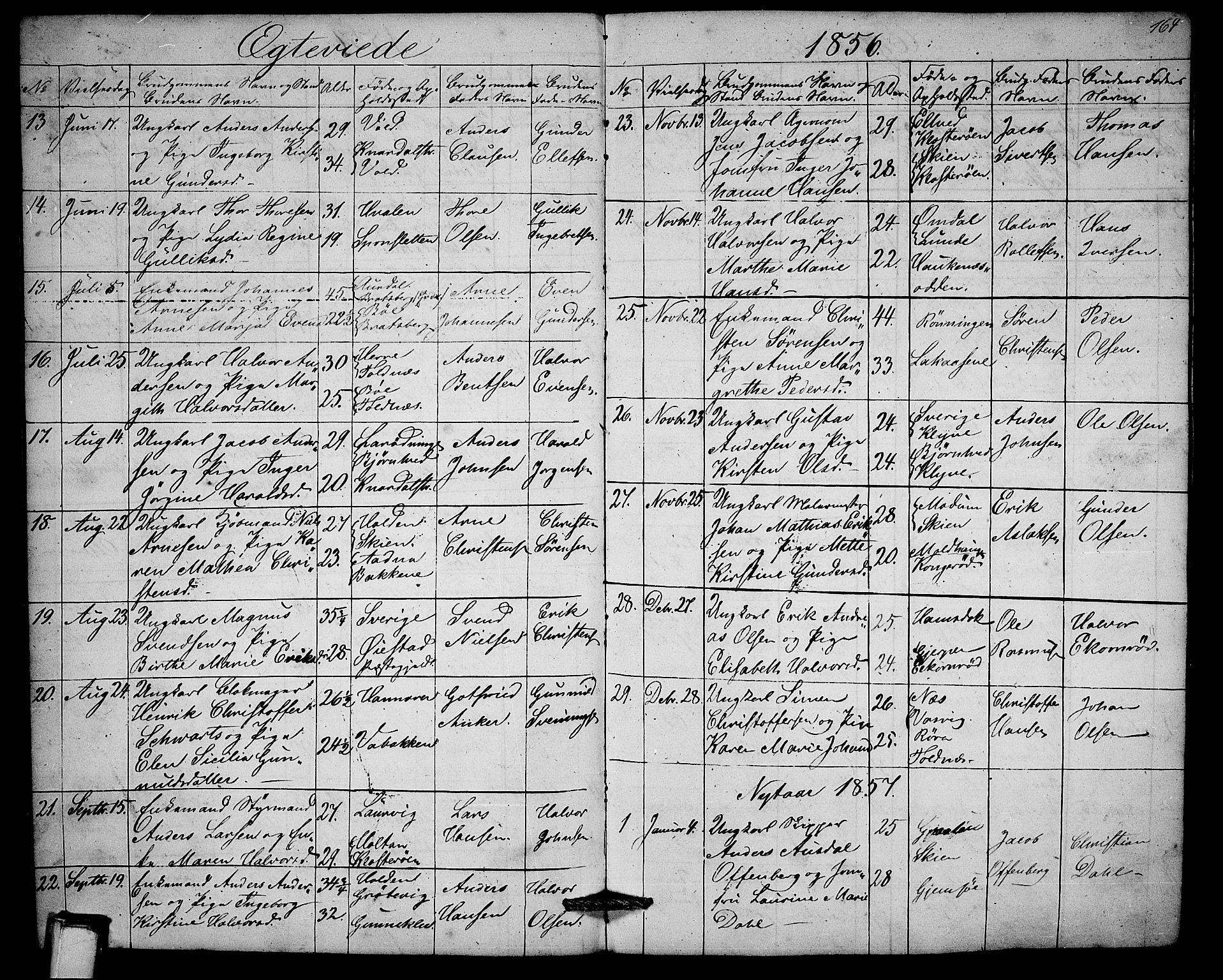 SAKO, Solum kirkebøker, G/Ga/L0003: Klokkerbok nr. I 3, 1848-1859, s. 164