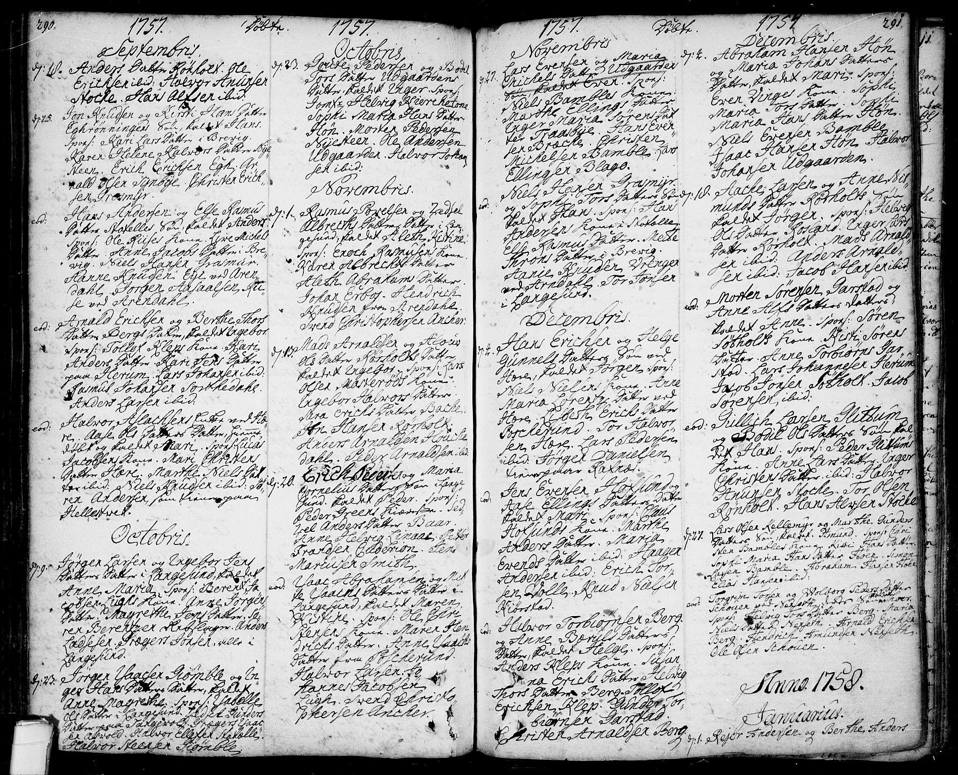 SAKO, Bamble kirkebøker, F/Fa/L0001: Ministerialbok nr. I 1, 1702-1774, s. 290-291