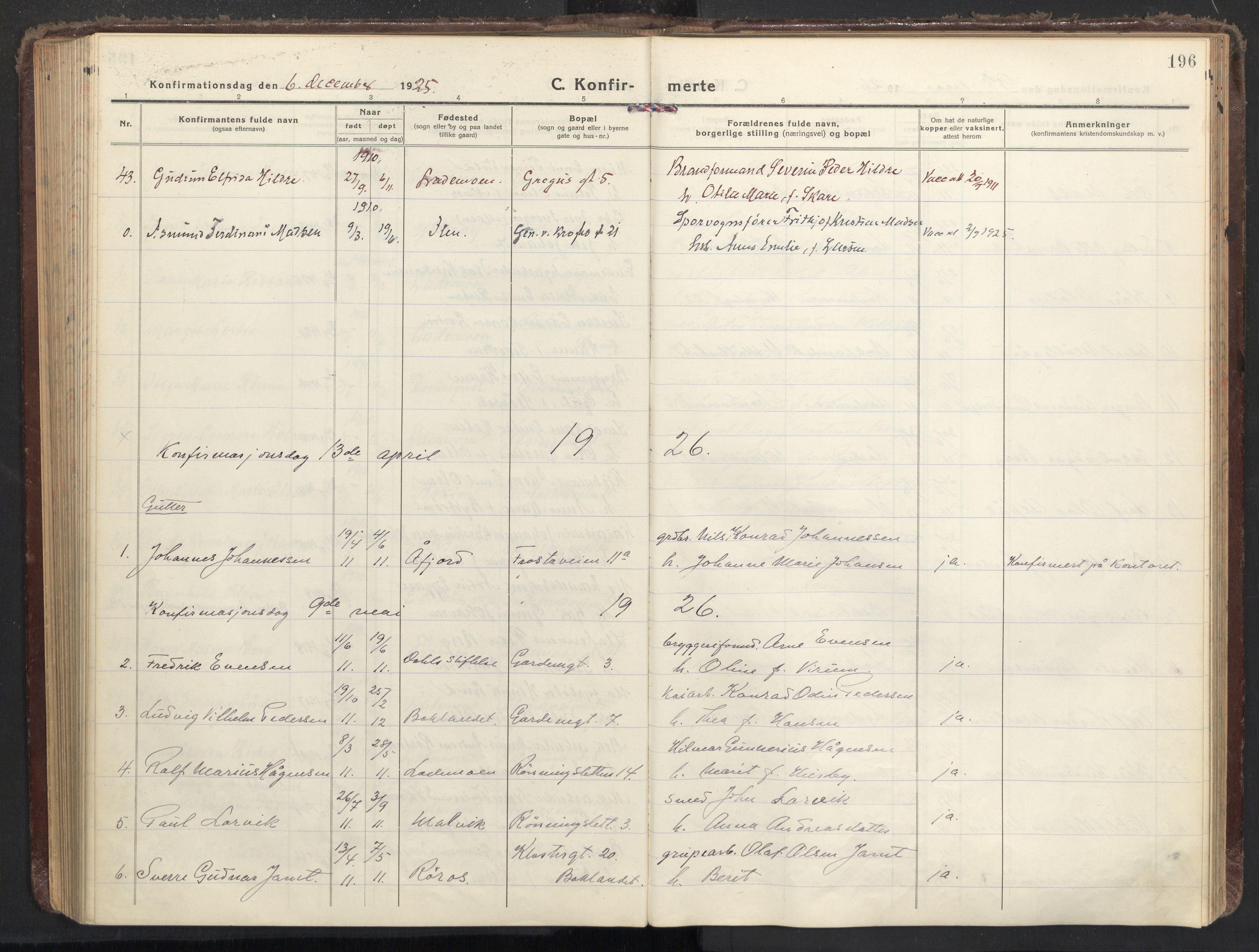 SAT, Ministerialprotokoller, klokkerbøker og fødselsregistre - Sør-Trøndelag, 605/L0247: Ministerialbok nr. 605A09, 1918-1930, s. 196