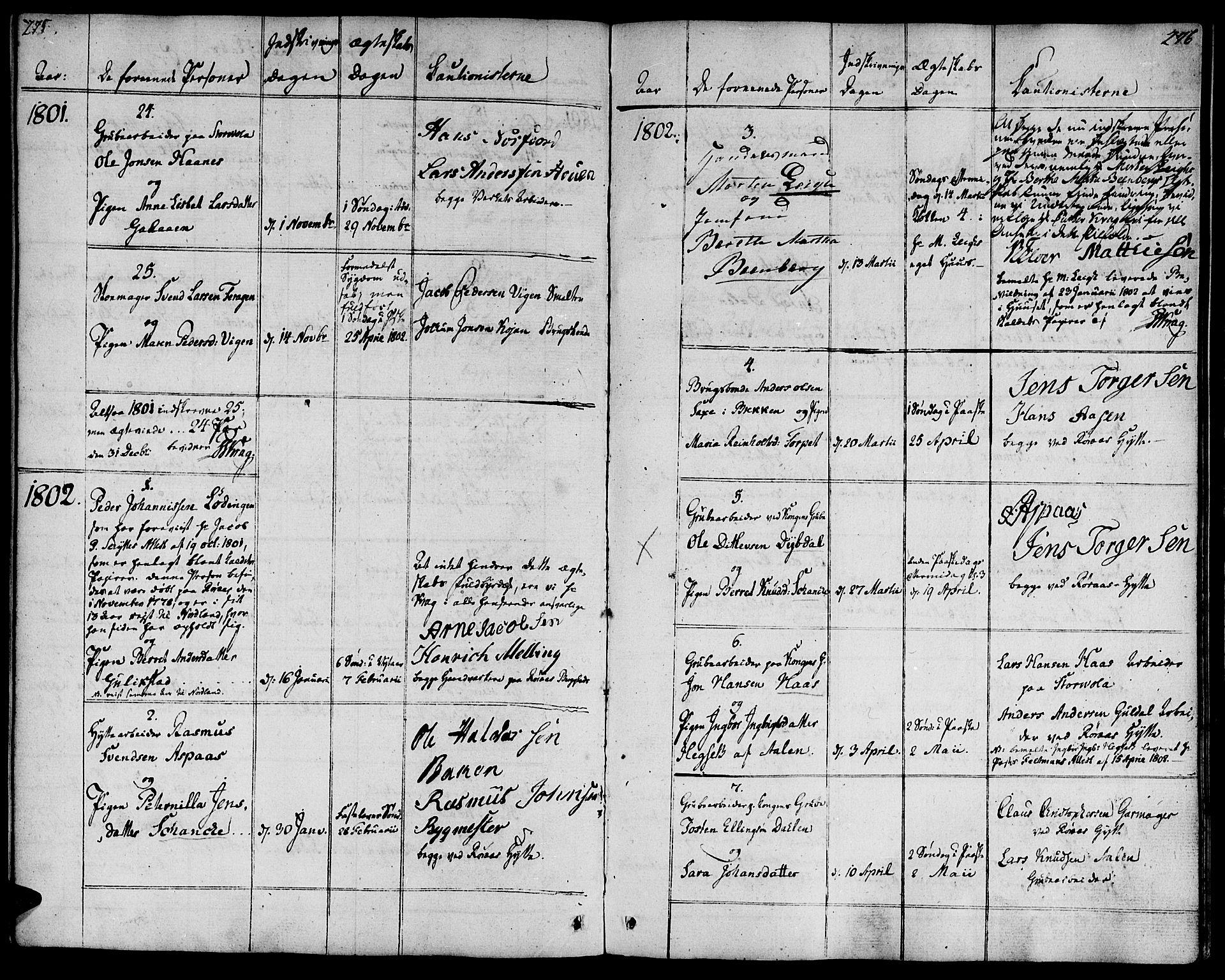 SAT, Ministerialprotokoller, klokkerbøker og fødselsregistre - Sør-Trøndelag, 681/L0927: Ministerialbok nr. 681A05, 1798-1808, s. 275-276