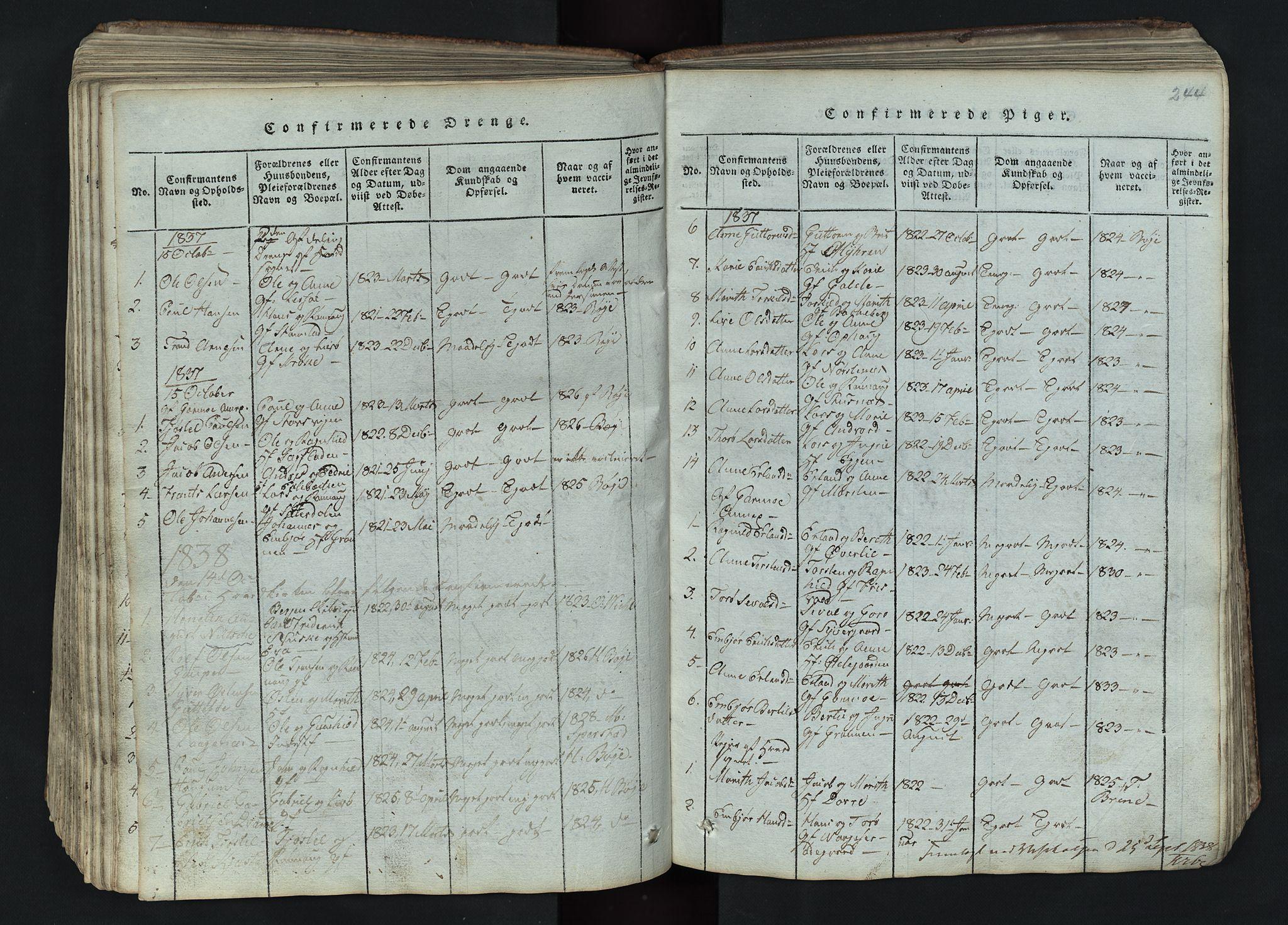 SAH, Lom prestekontor, L/L0002: Klokkerbok nr. 2, 1815-1844, s. 244