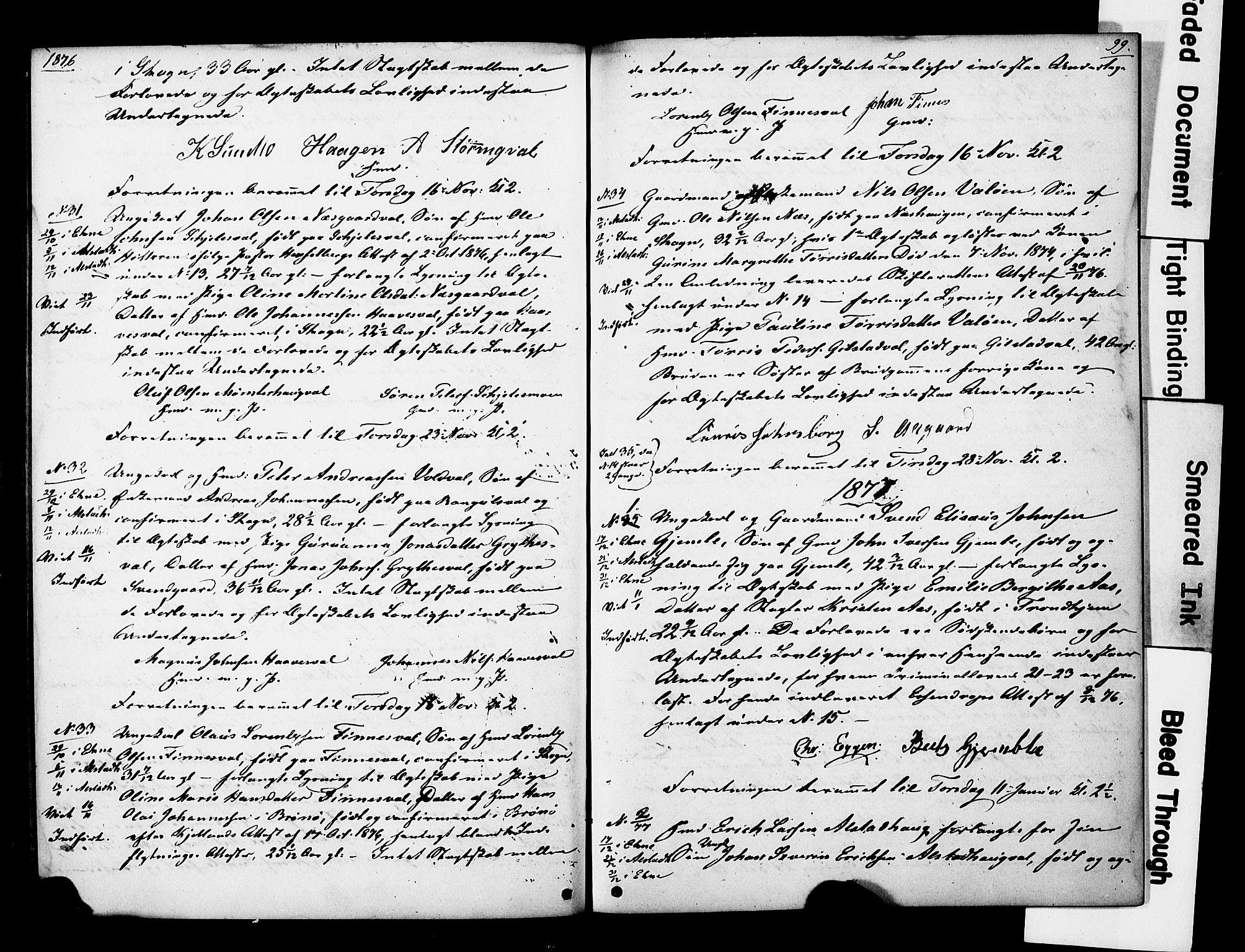 SAT, Ministerialprotokoller, klokkerbøker og fødselsregistre - Nord-Trøndelag, 717/L0161: Forlovererklæringer nr. 717A11, 1850-1895, s. 99