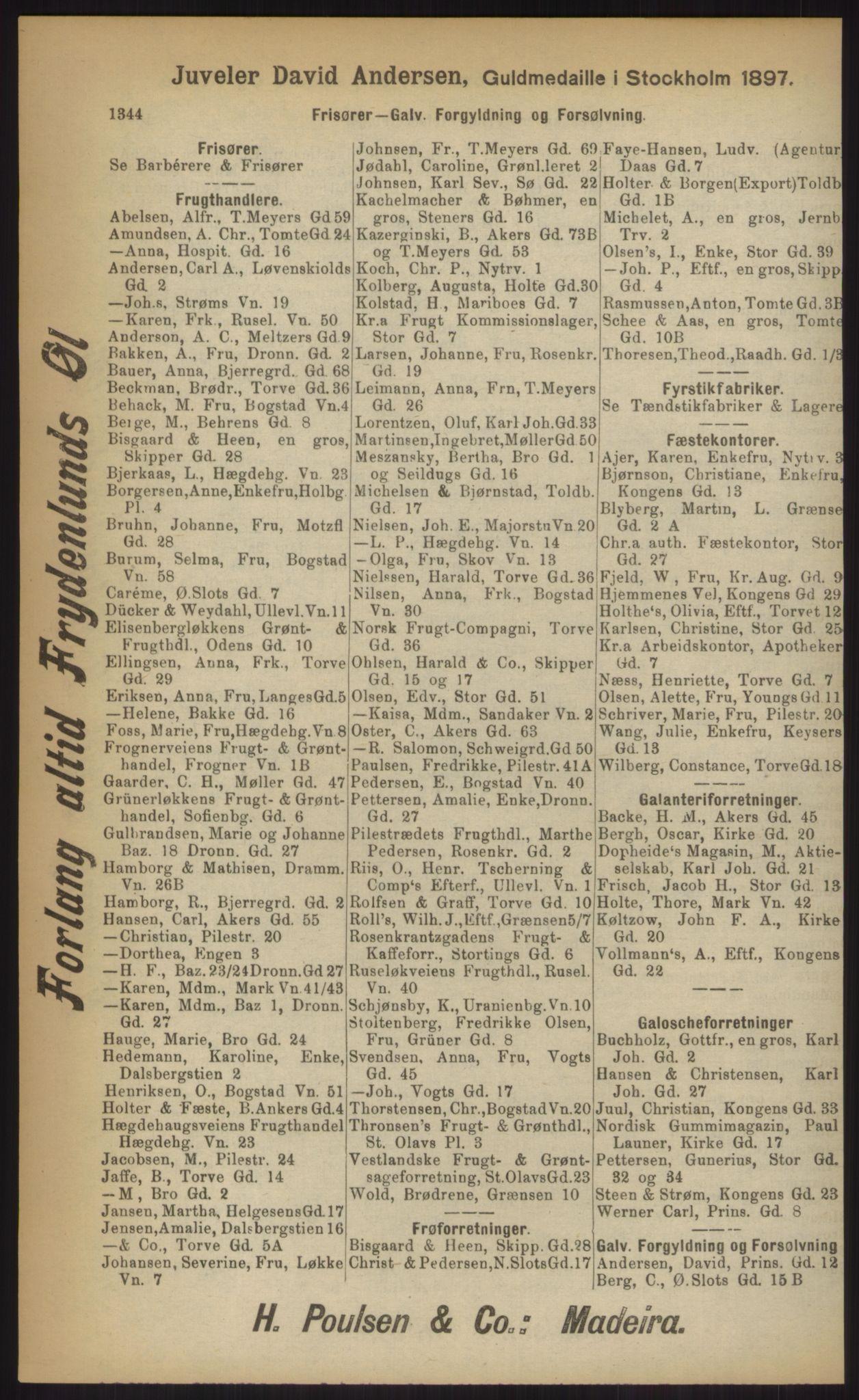 RA, Kristiania adressebok (publikasjon)*, 1903, s. 1344