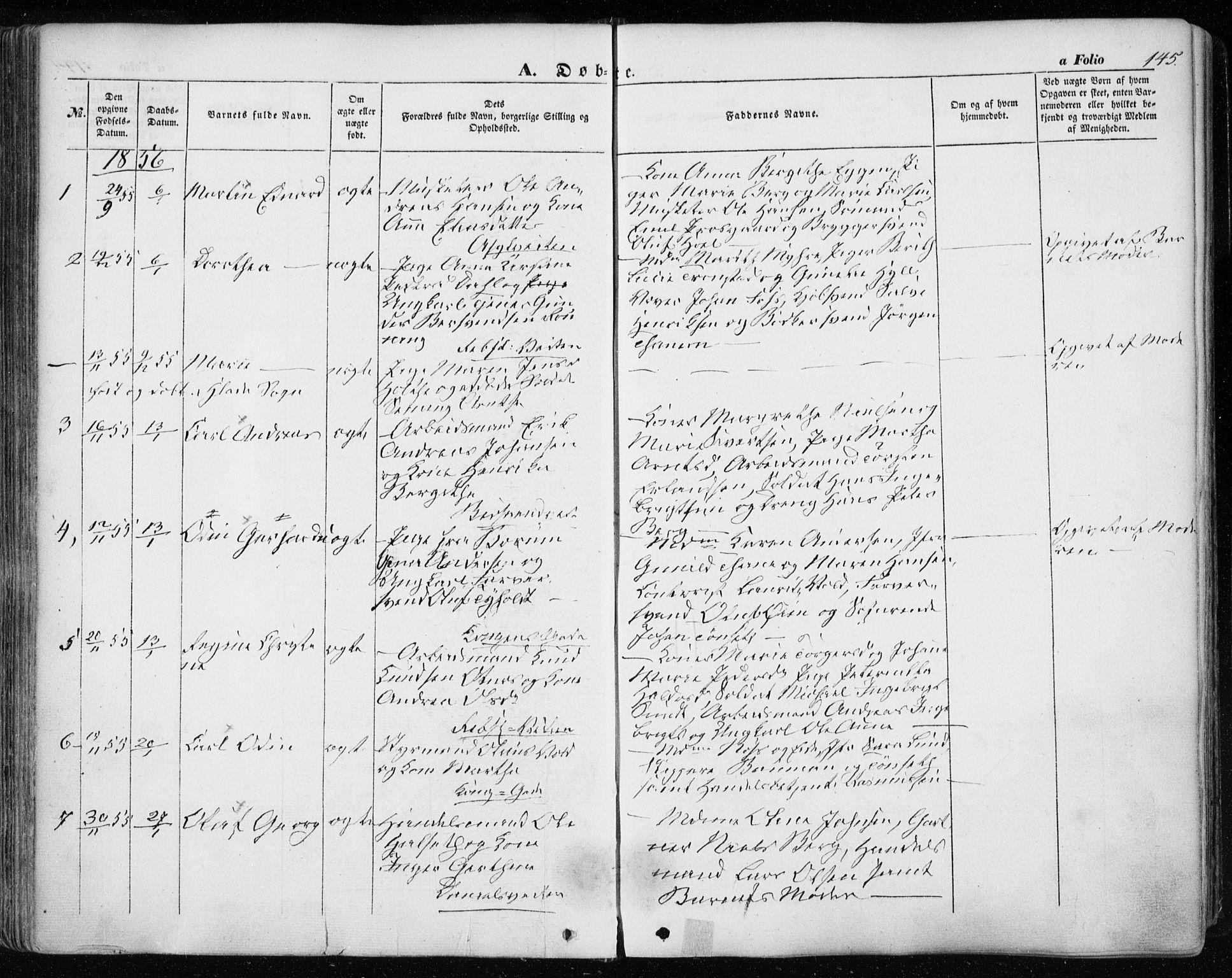 SAT, Ministerialprotokoller, klokkerbøker og fødselsregistre - Sør-Trøndelag, 601/L0051: Ministerialbok nr. 601A19, 1848-1857, s. 145