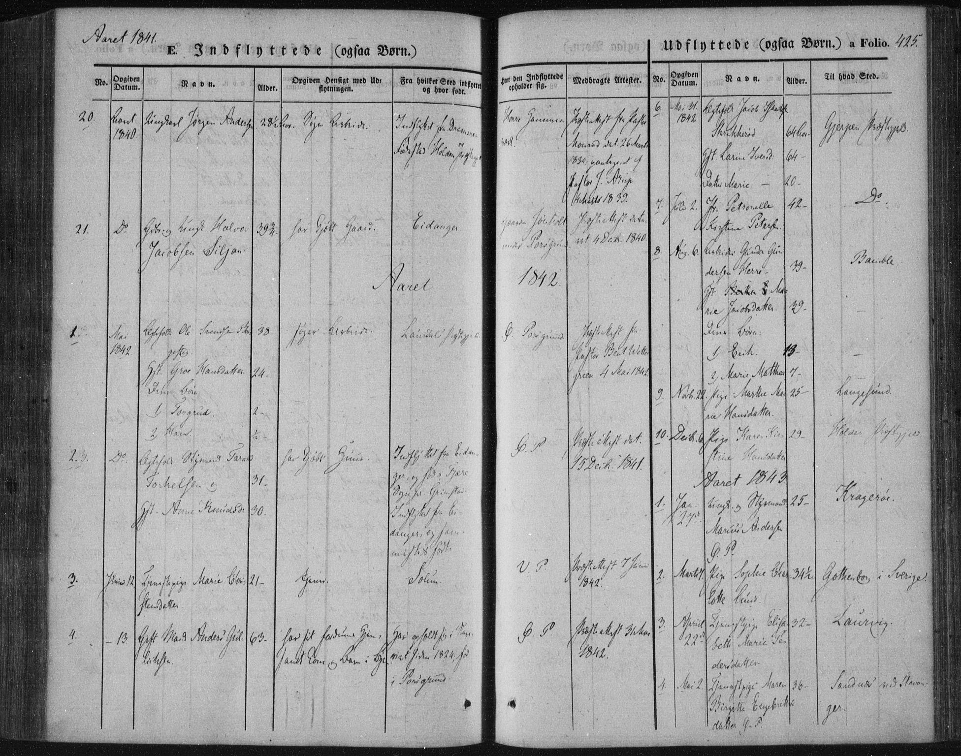 SAKO, Porsgrunn kirkebøker , F/Fa/L0006: Ministerialbok nr. 6, 1841-1857, s. 425