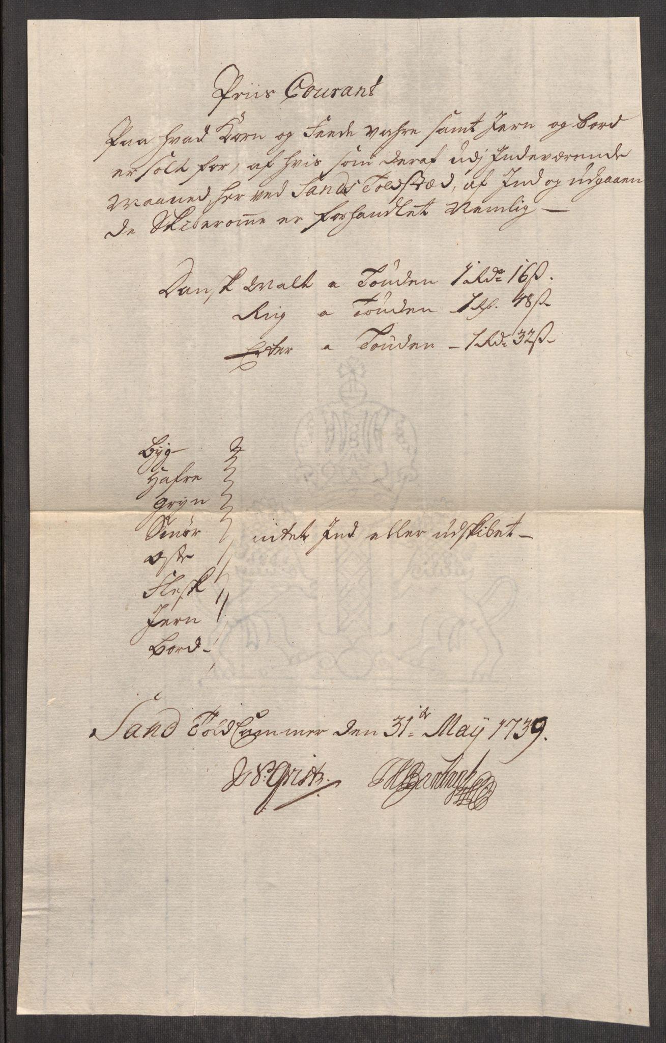 RA, Rentekammeret inntil 1814, Realistisk ordnet avdeling, Oe/L0001: [Ø1]: Priskuranter, 1712-1739, s. 932